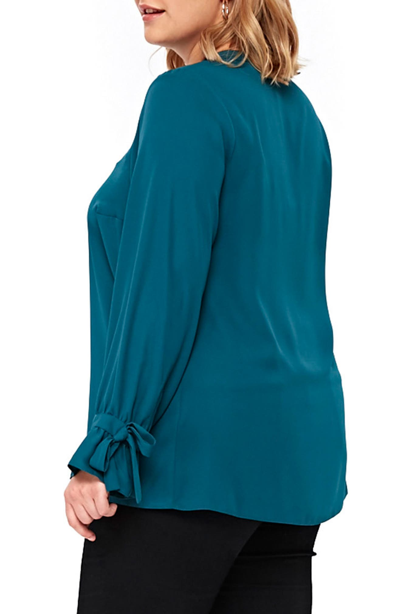 Tie Ruffle Cuff Top,                             Alternate thumbnail 2, color,                             Teal