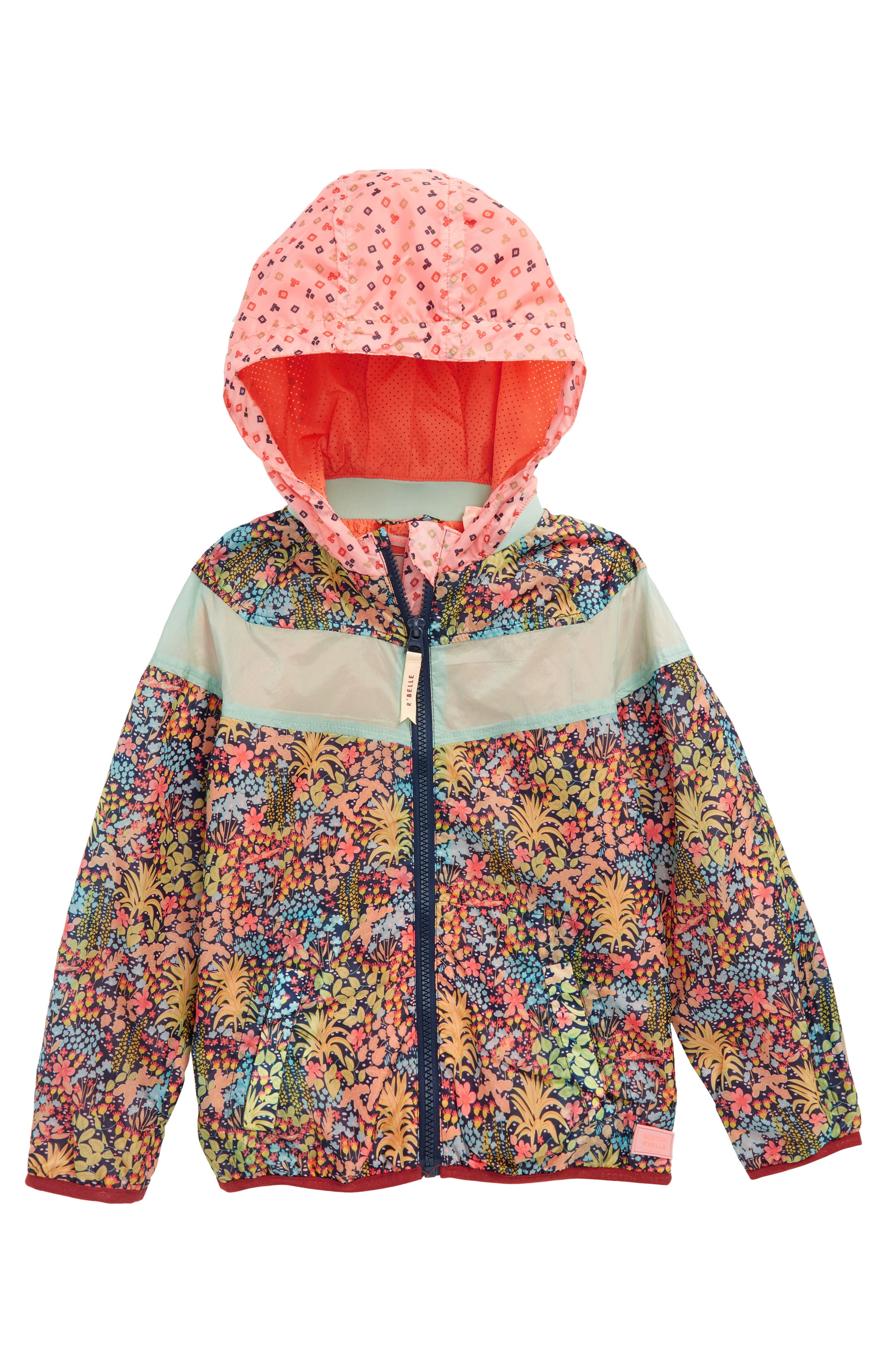 Scotch R'Belle Print Colorblock Hooded Jacket,                         Main,                         color, 218 B Print