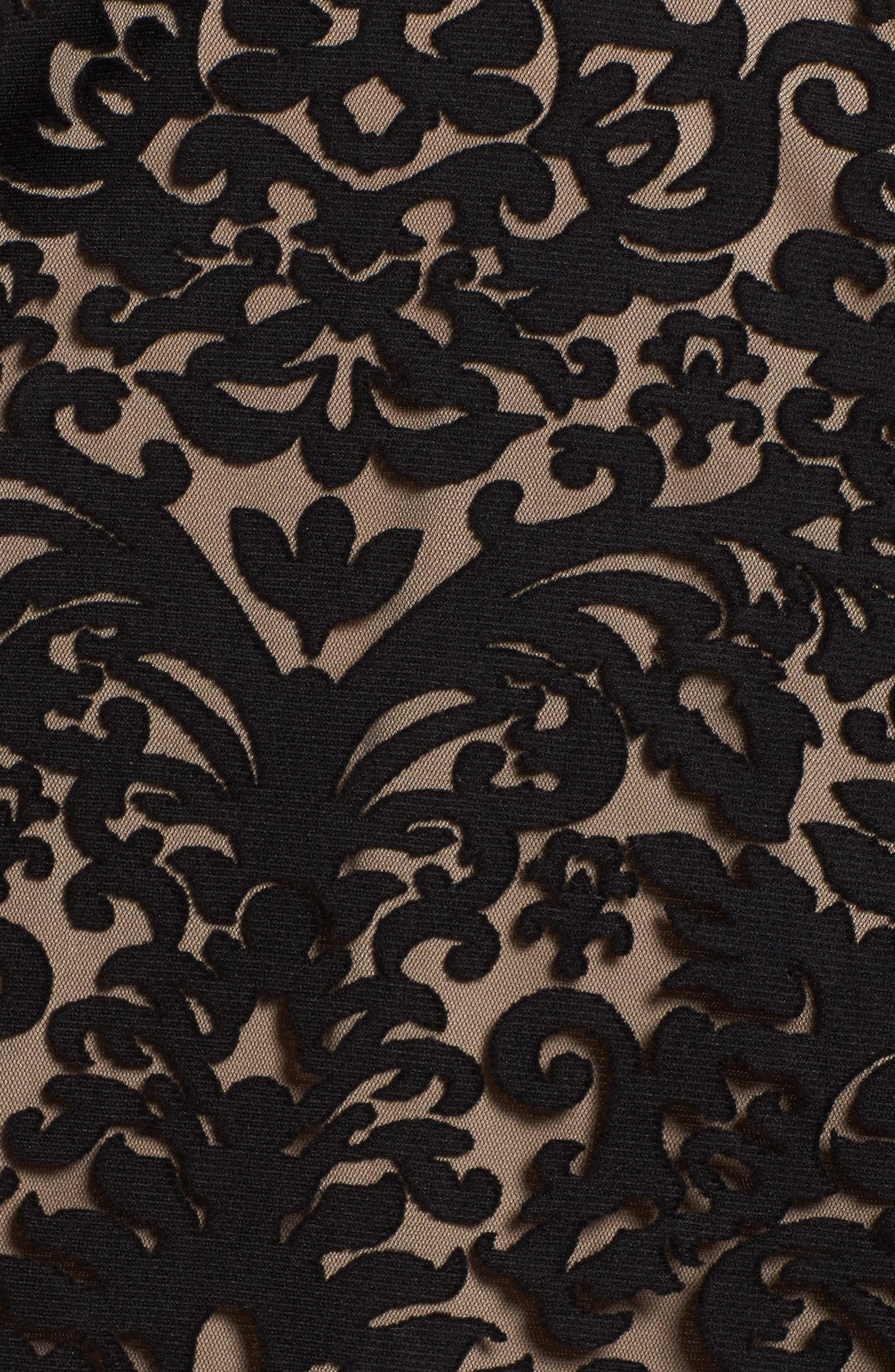 Lace Fit & Flare Dress,                             Alternate thumbnail 5, color,                             Black/ Nude