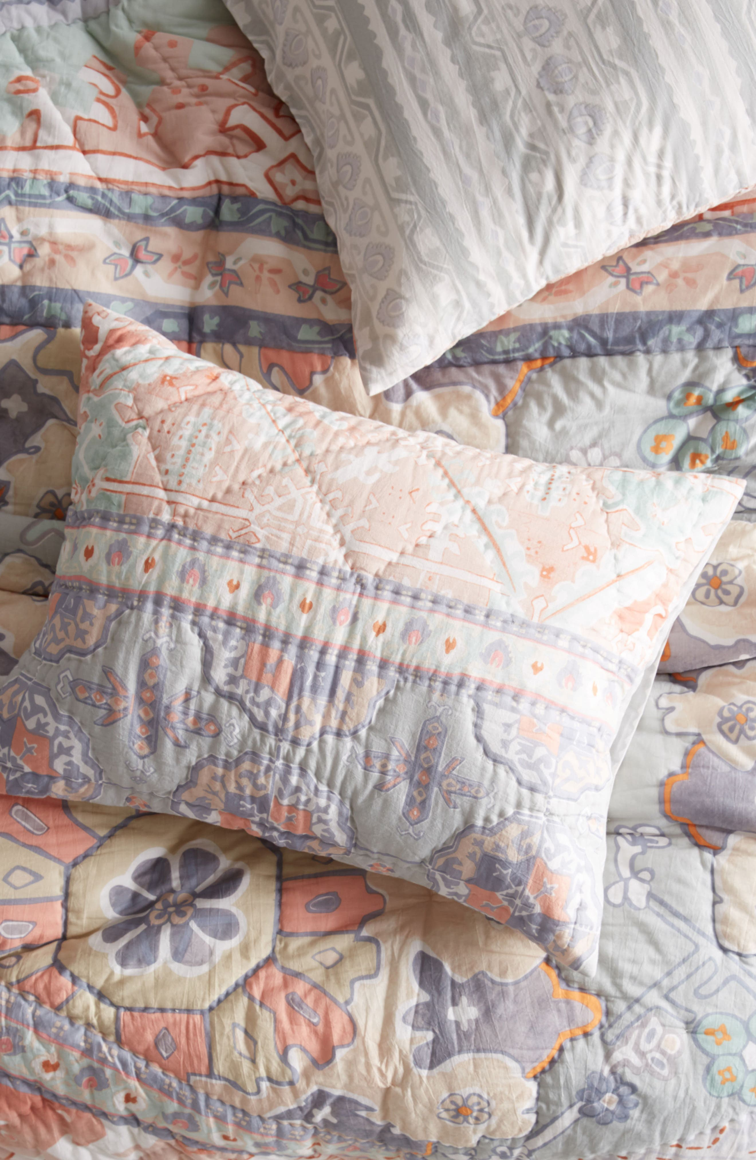 Pilar Set of Quilted Shams,                             Main thumbnail 1, color,                             Coral