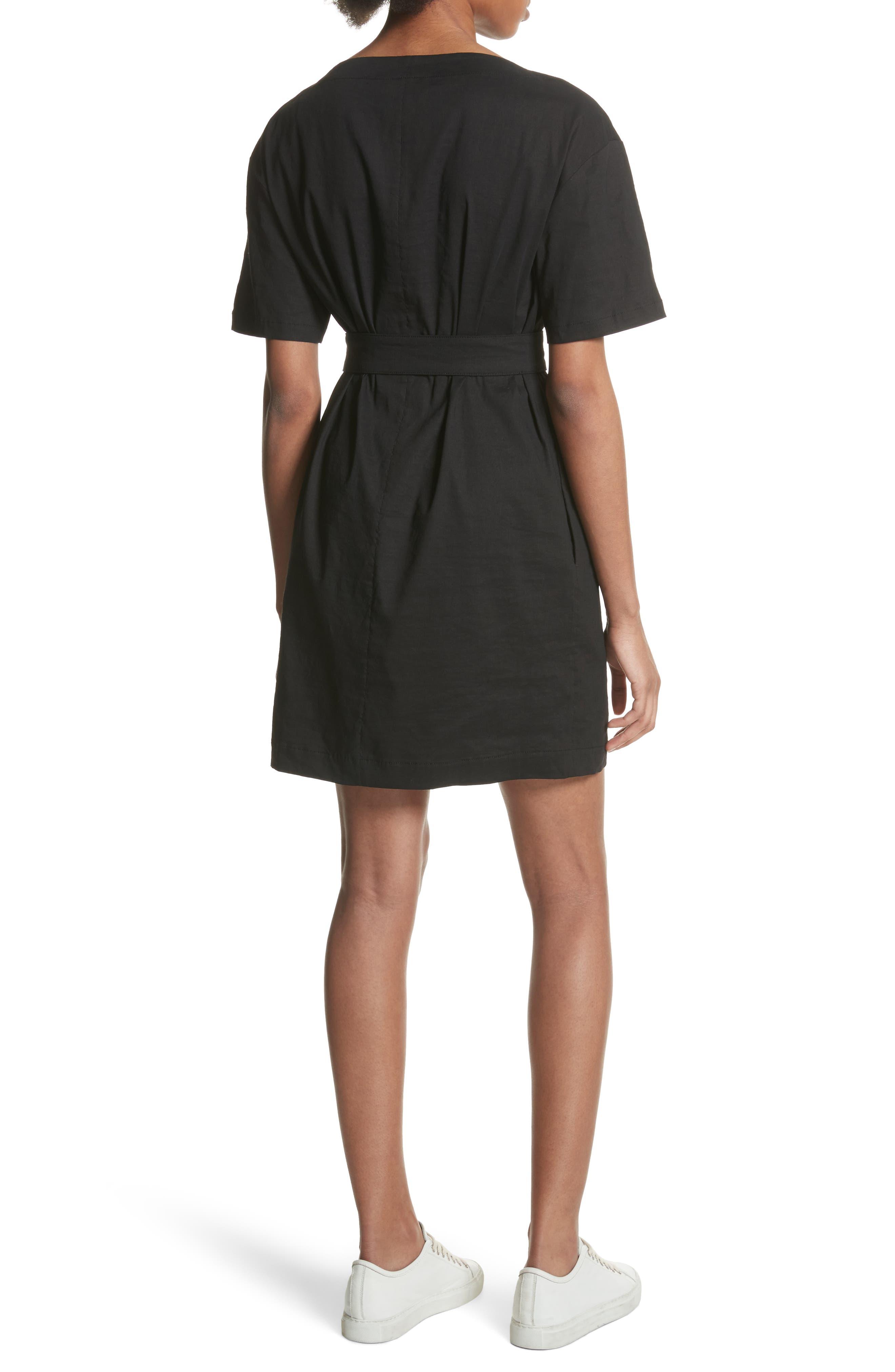 Belted Shift Dress,                             Alternate thumbnail 2, color,                             Black Multi