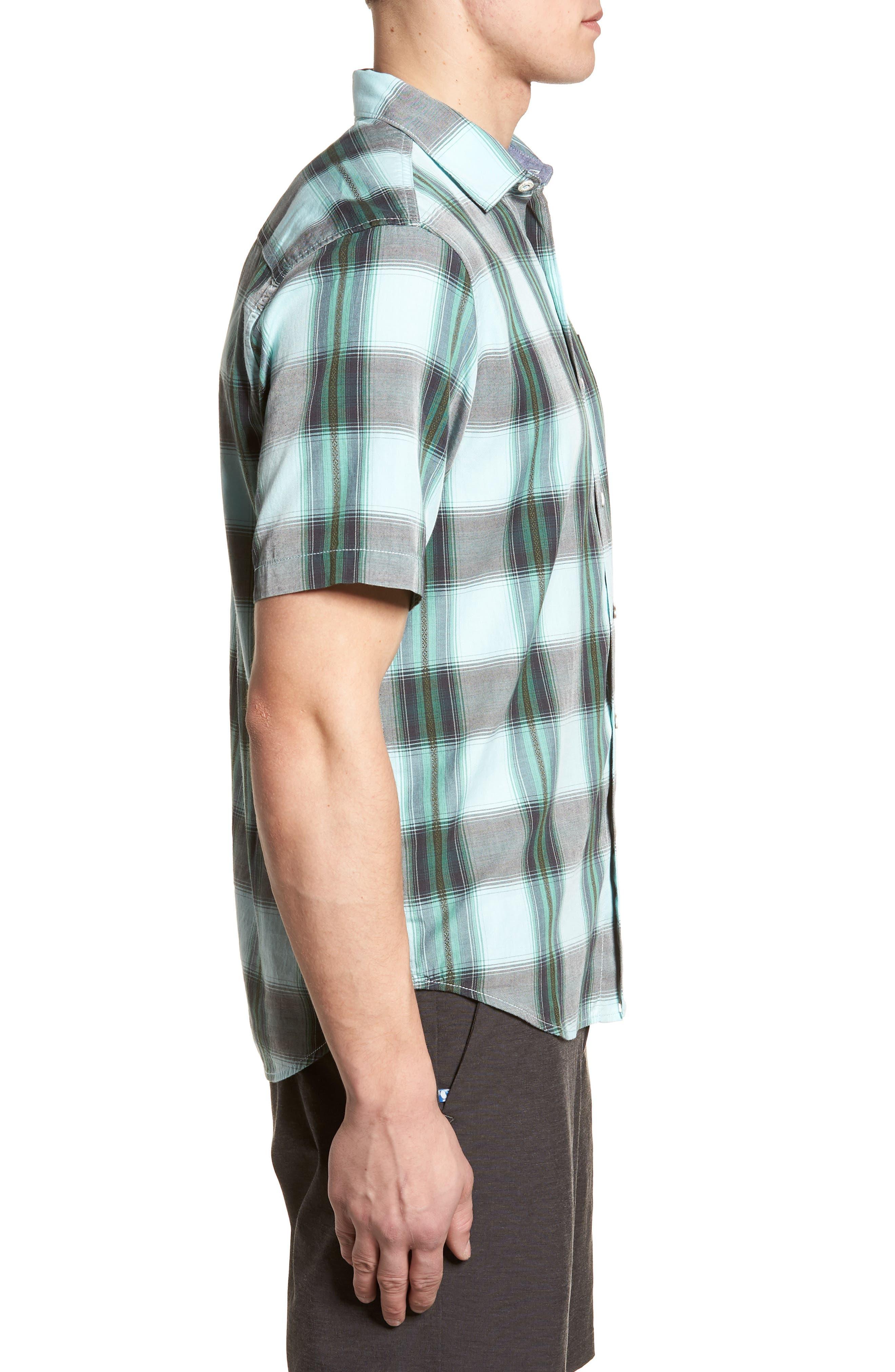Biscayne Plaid Regular Fit Sport Shirt,                             Alternate thumbnail 3, color,                             Aqua Mist