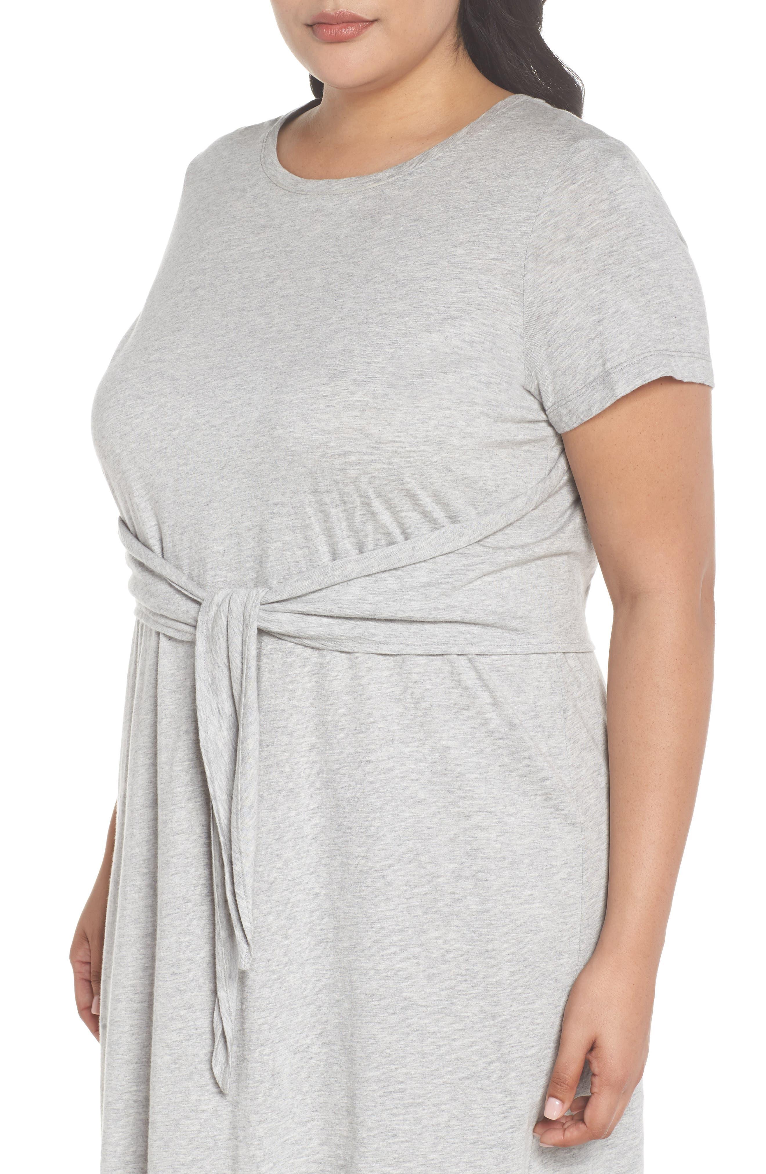 Juno Tie Waist T-Shirt Dress,                             Alternate thumbnail 4, color,                             Heather Grey
