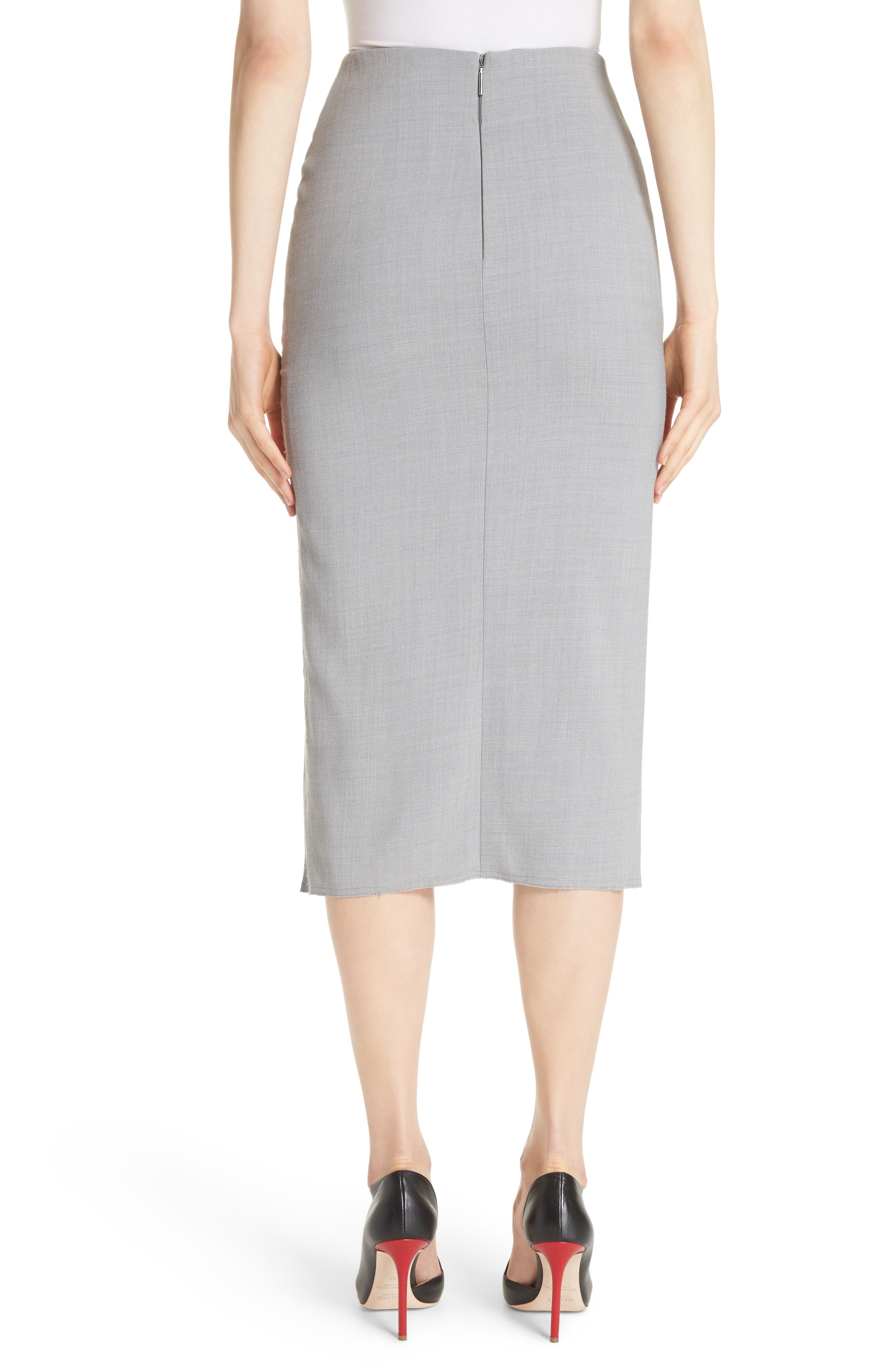 Raw Hem Tie Front Skirt,                             Alternate thumbnail 2, color,                             Light Grey Melange