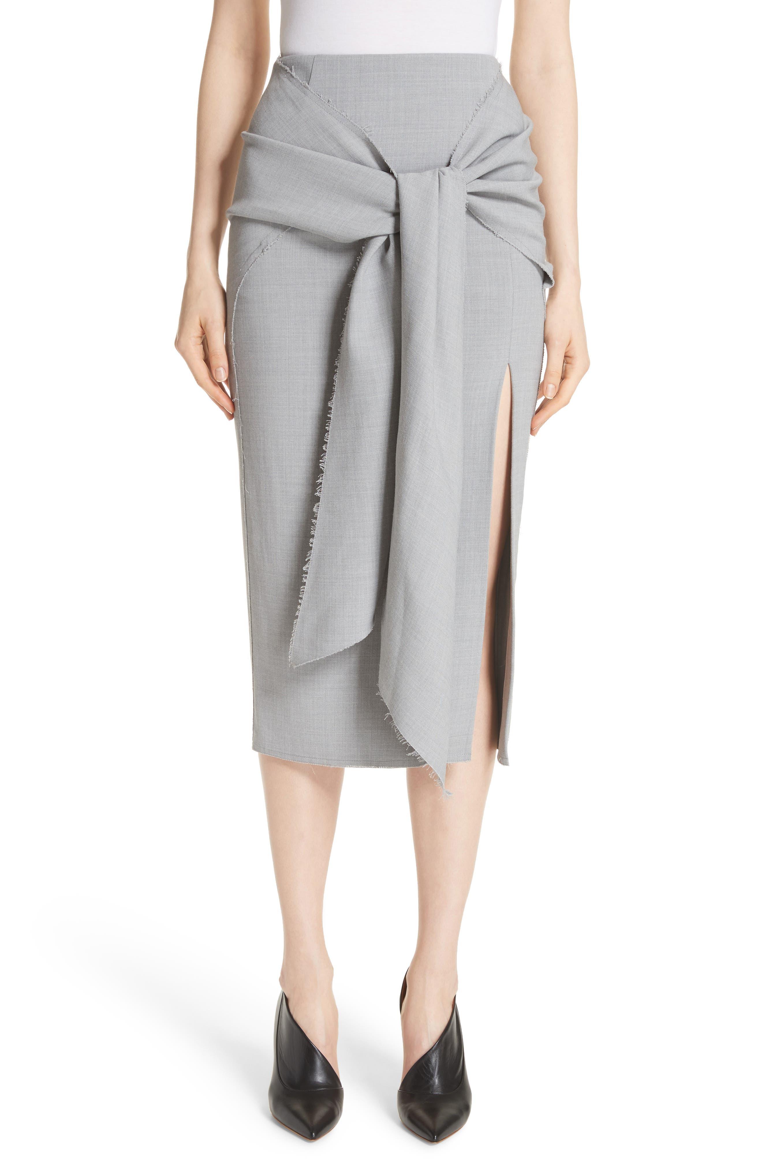 Raw Hem Tie Front Skirt,                             Main thumbnail 1, color,                             Light Grey Melange