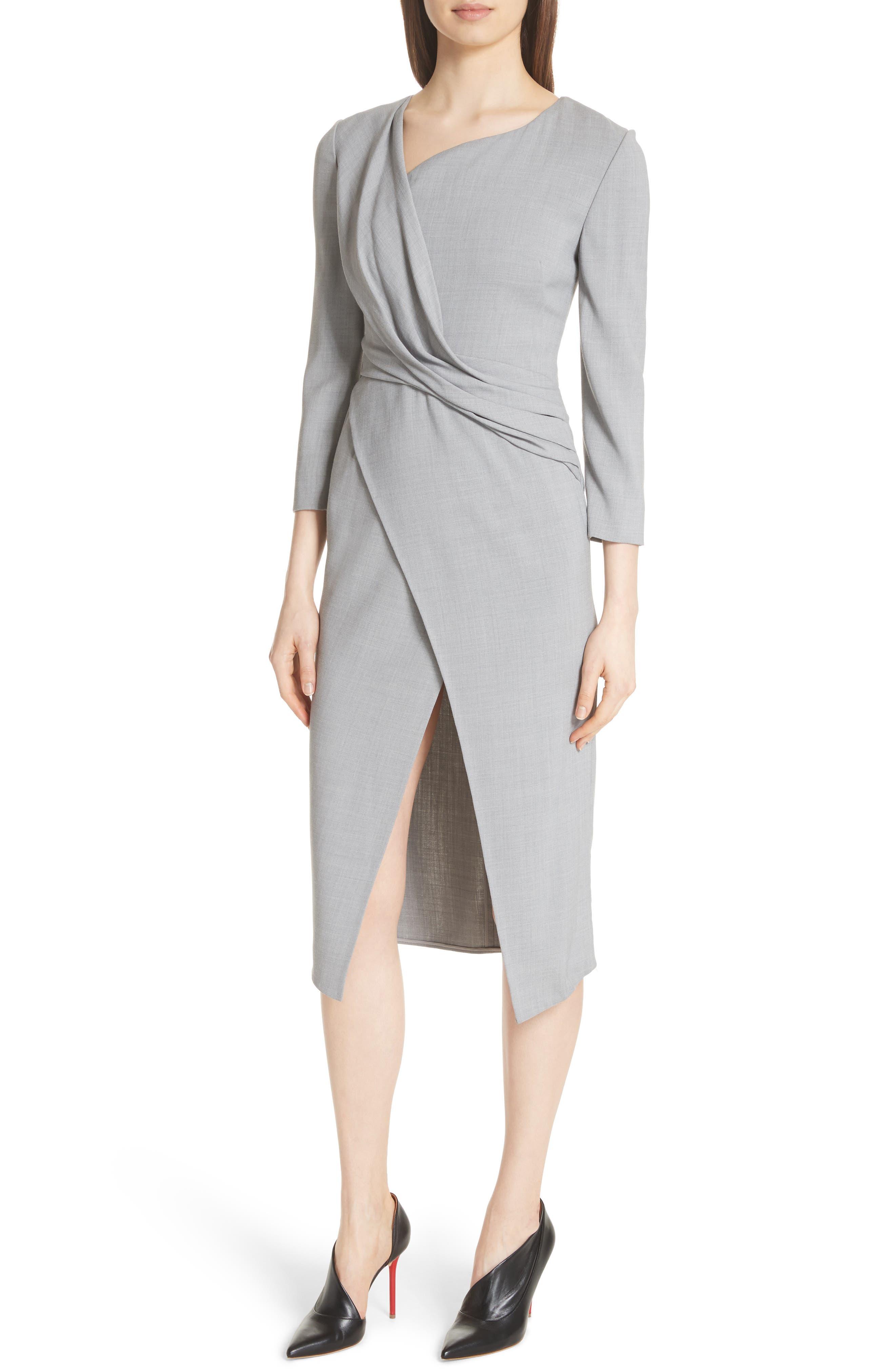 Wrap Panel Envelope Hem Dress,                             Alternate thumbnail 4, color,                             Light Grey Melange