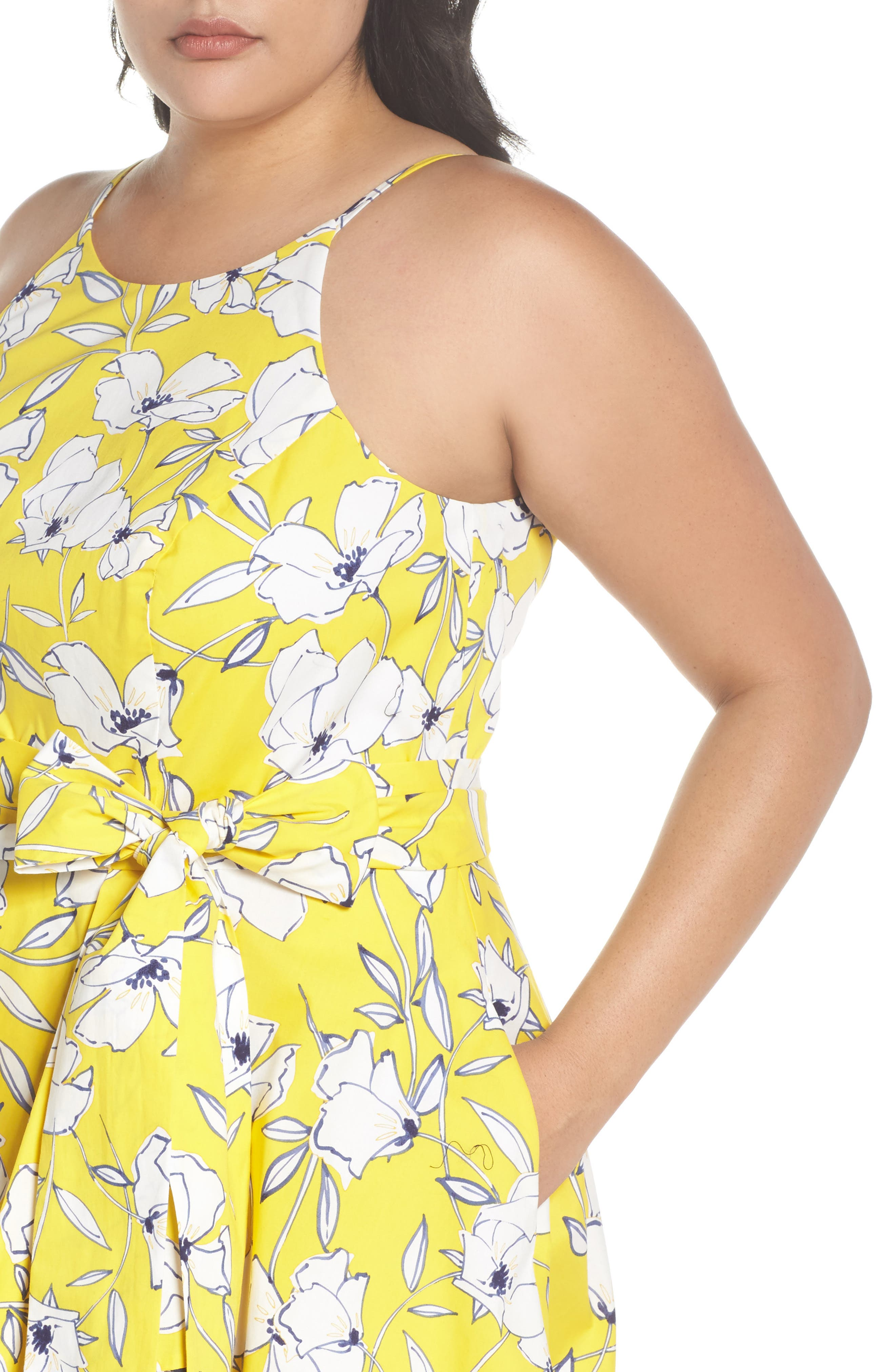 Floral Fit & Flare Dress,                             Alternate thumbnail 5, color,                             Yellow/ Navy/ White