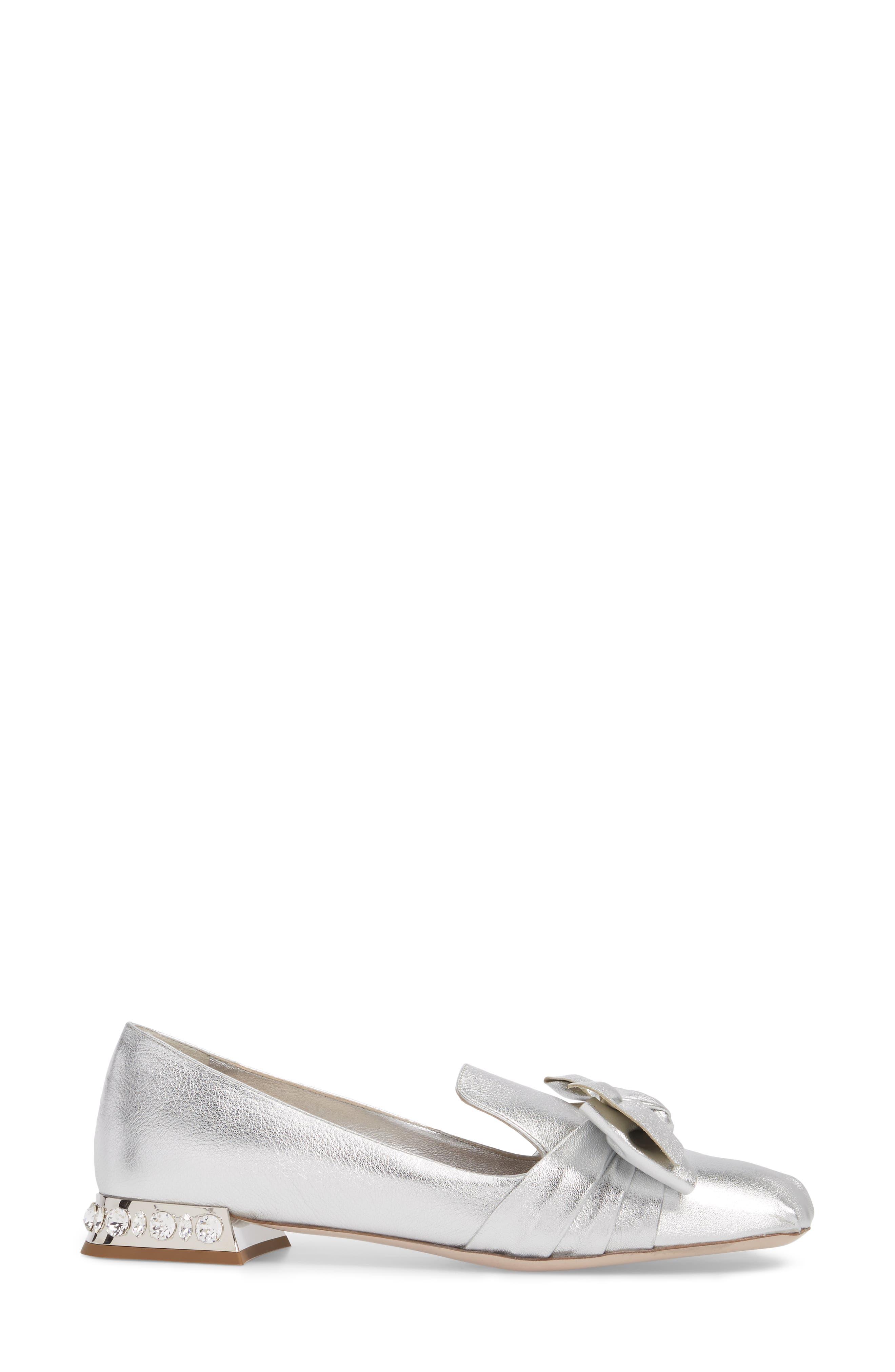 Embellished Heel Bow Loafer,                             Alternate thumbnail 3, color,                             Silver