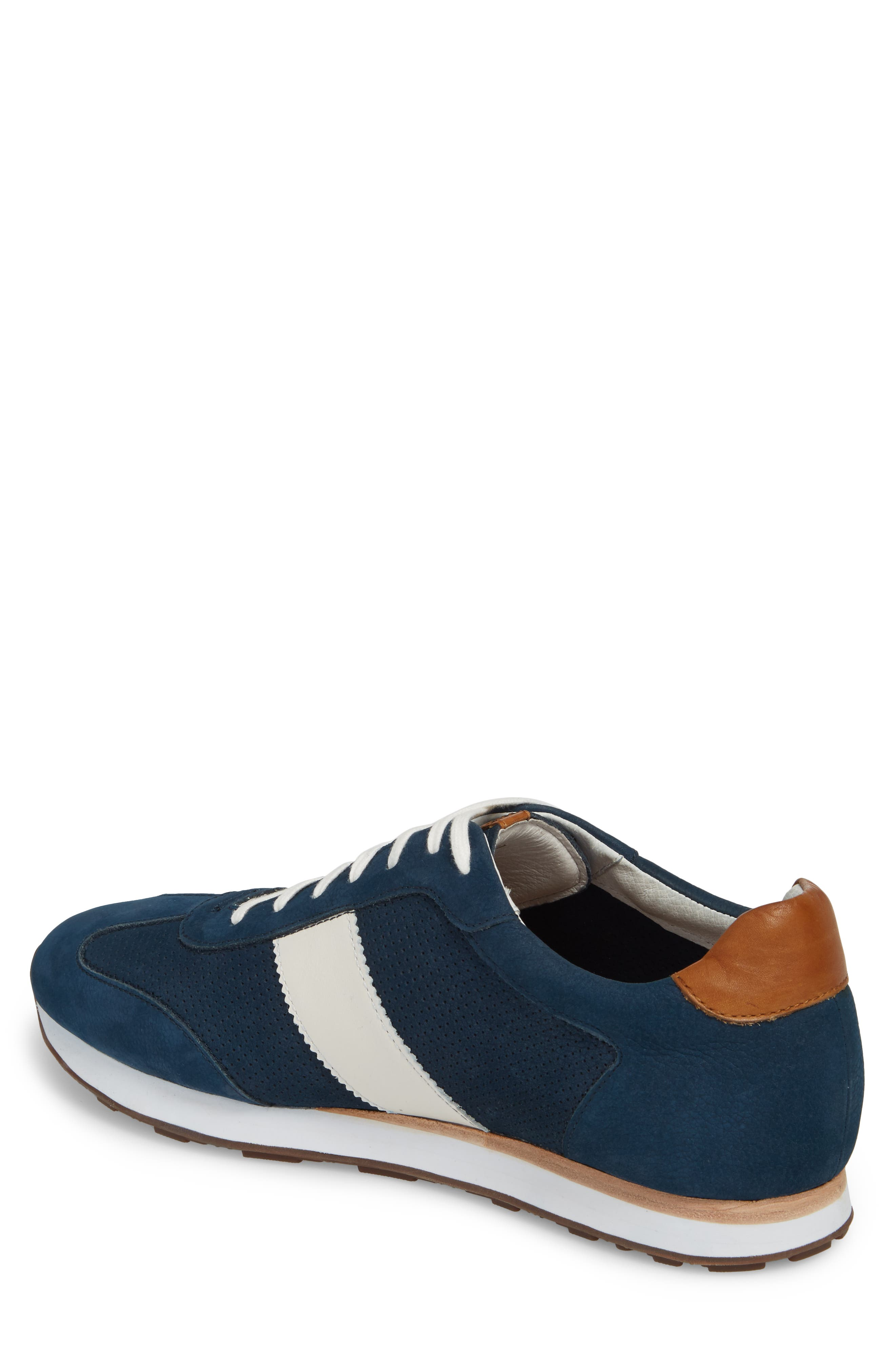 Malek Perforated Low Top Sneaker,                             Alternate thumbnail 2, color,                             Navy Nubuck Leather