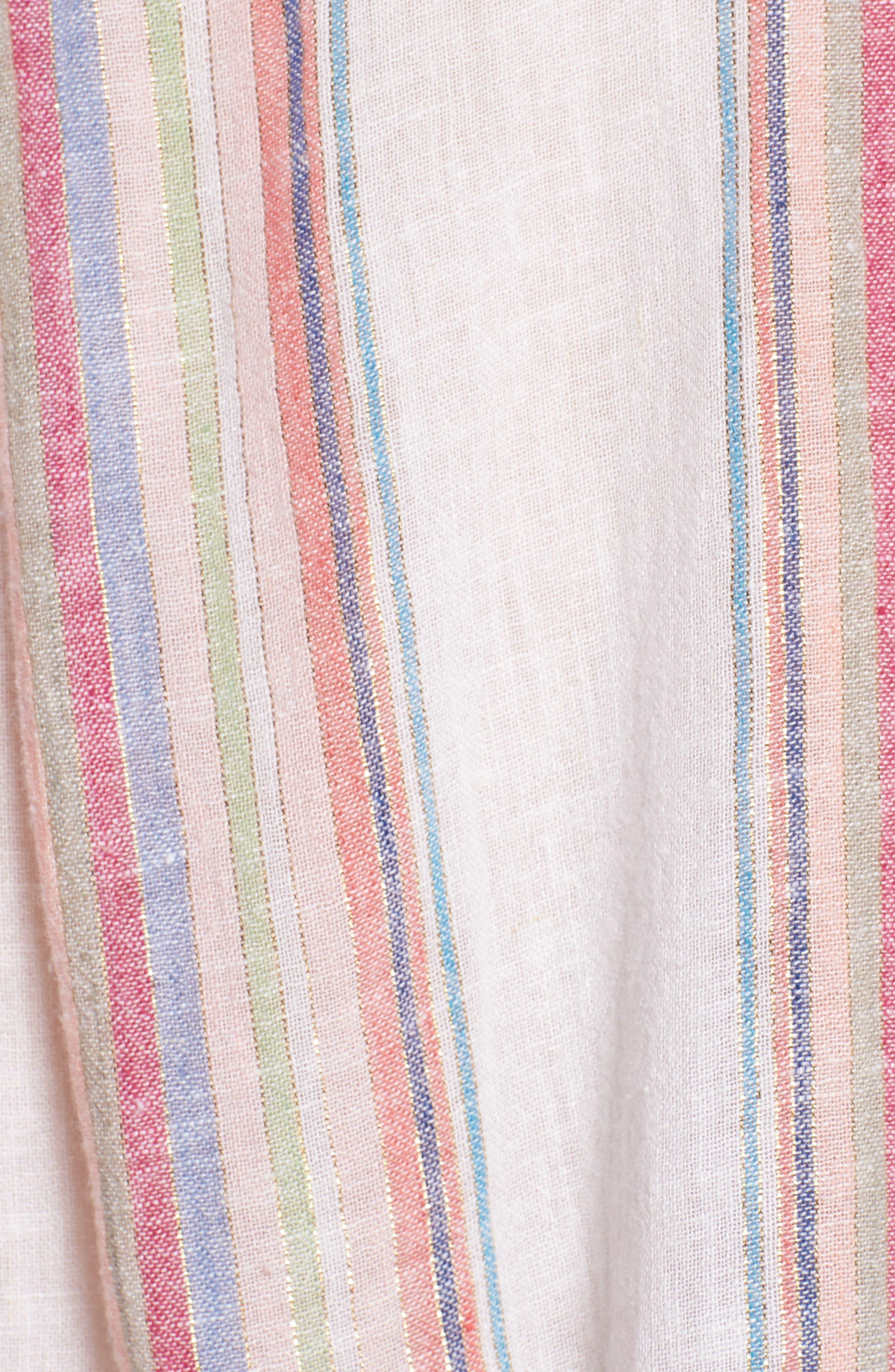 Zuma Stripe Linen Blend Top,                             Alternate thumbnail 6, color,                             Havana Stripe