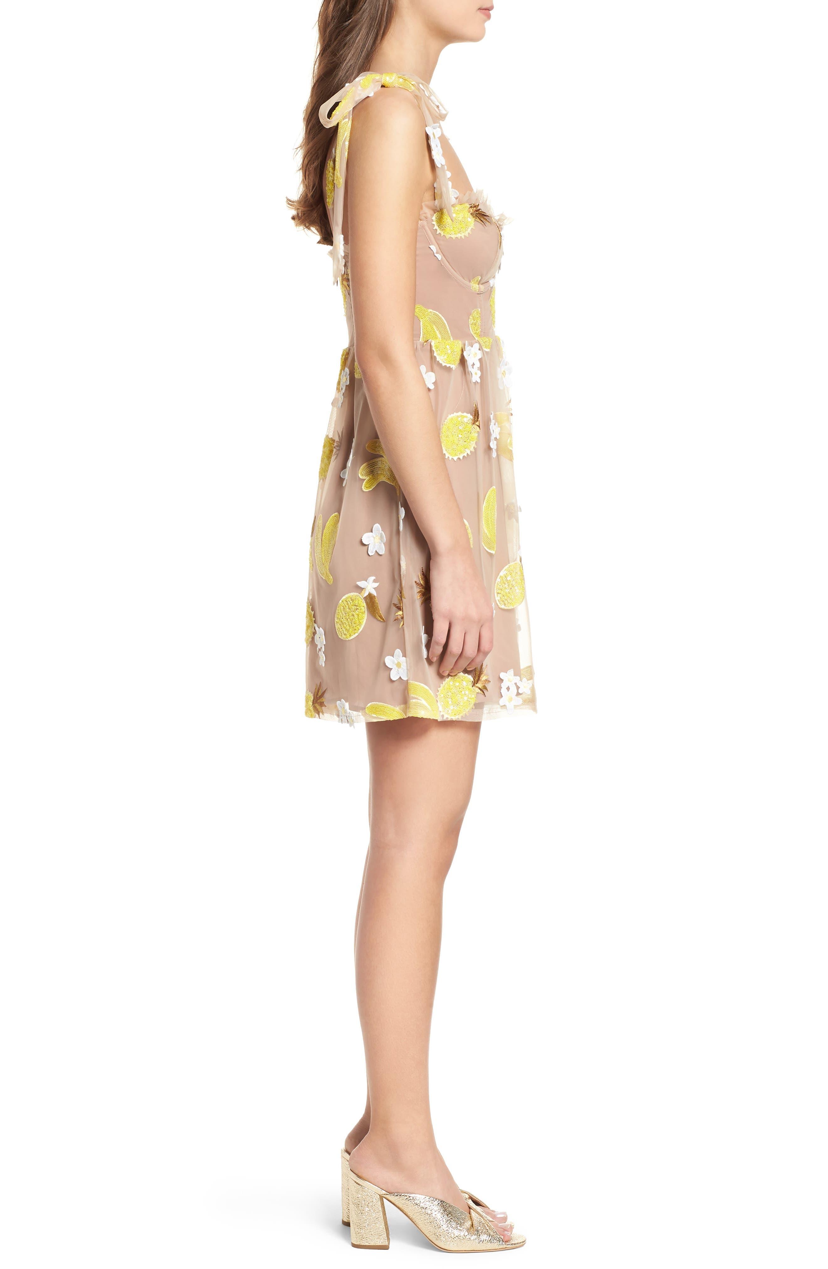 Fruitpunch Sequin Minidress,                             Alternate thumbnail 3, color,                             Pineapple
