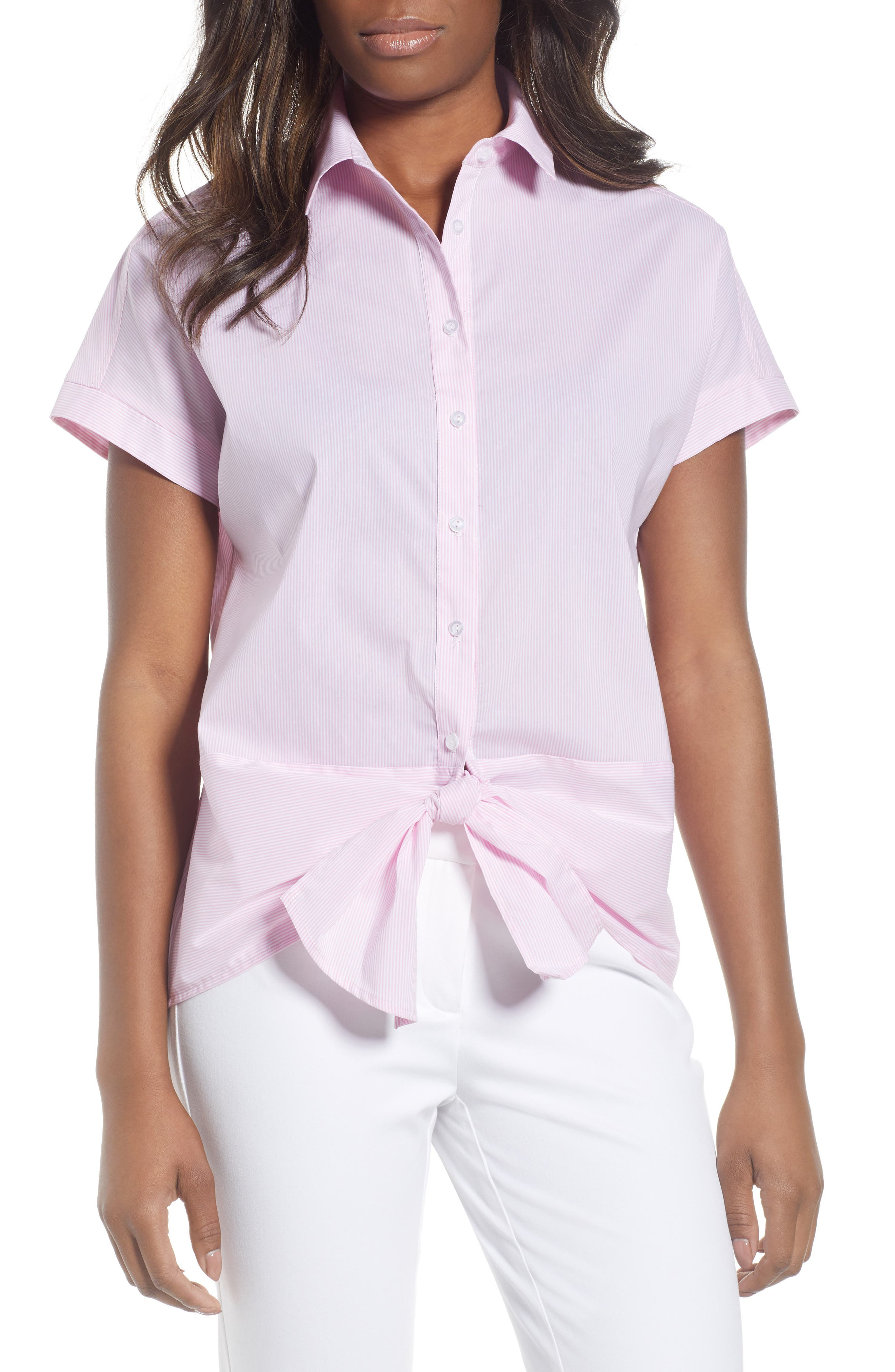 Gibson Tie Front Blouse (Regular & Petite)