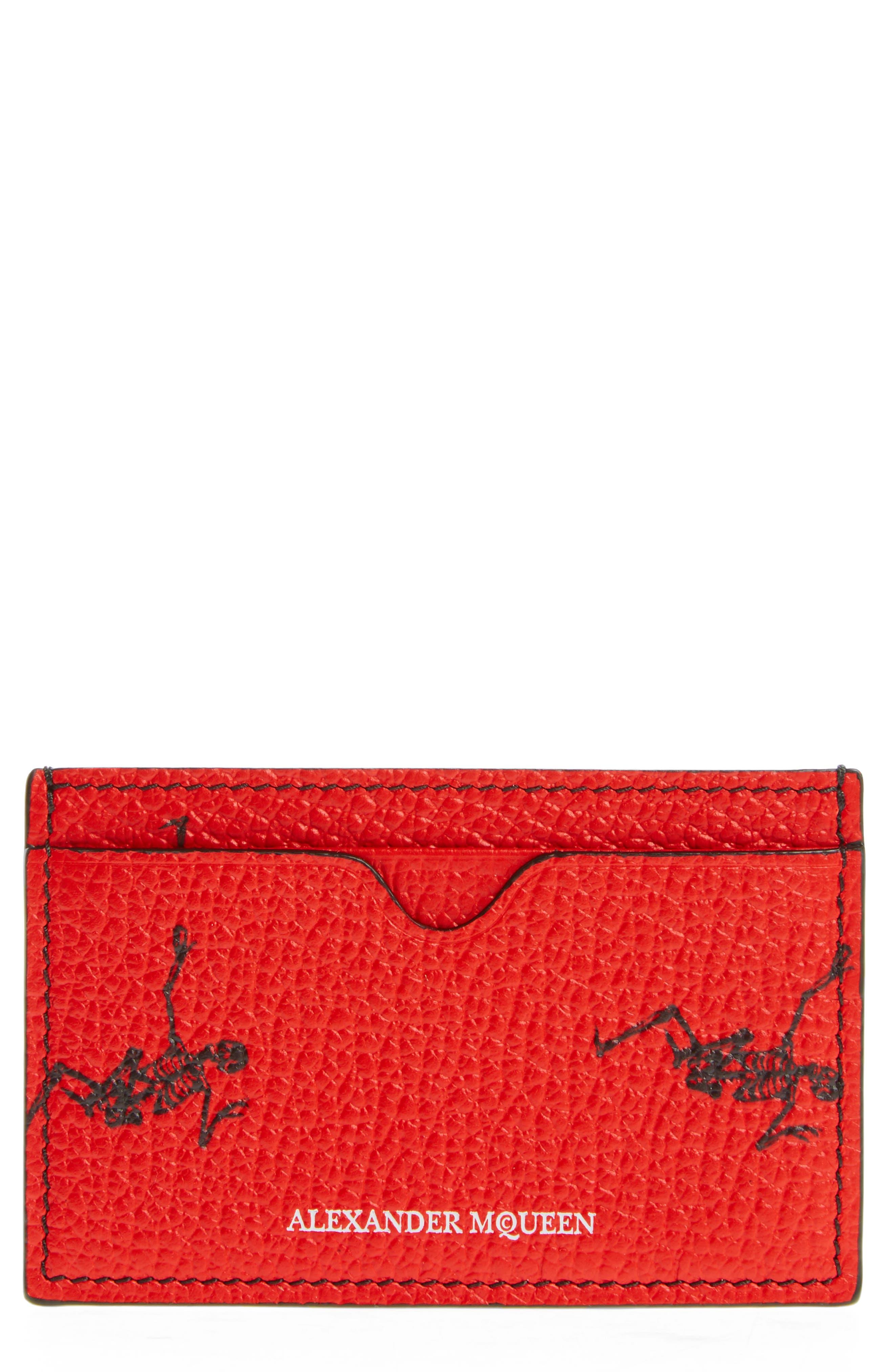 Dancing Skeleton Card Case,                             Main thumbnail 1, color,                             Scarlet Red/ Black