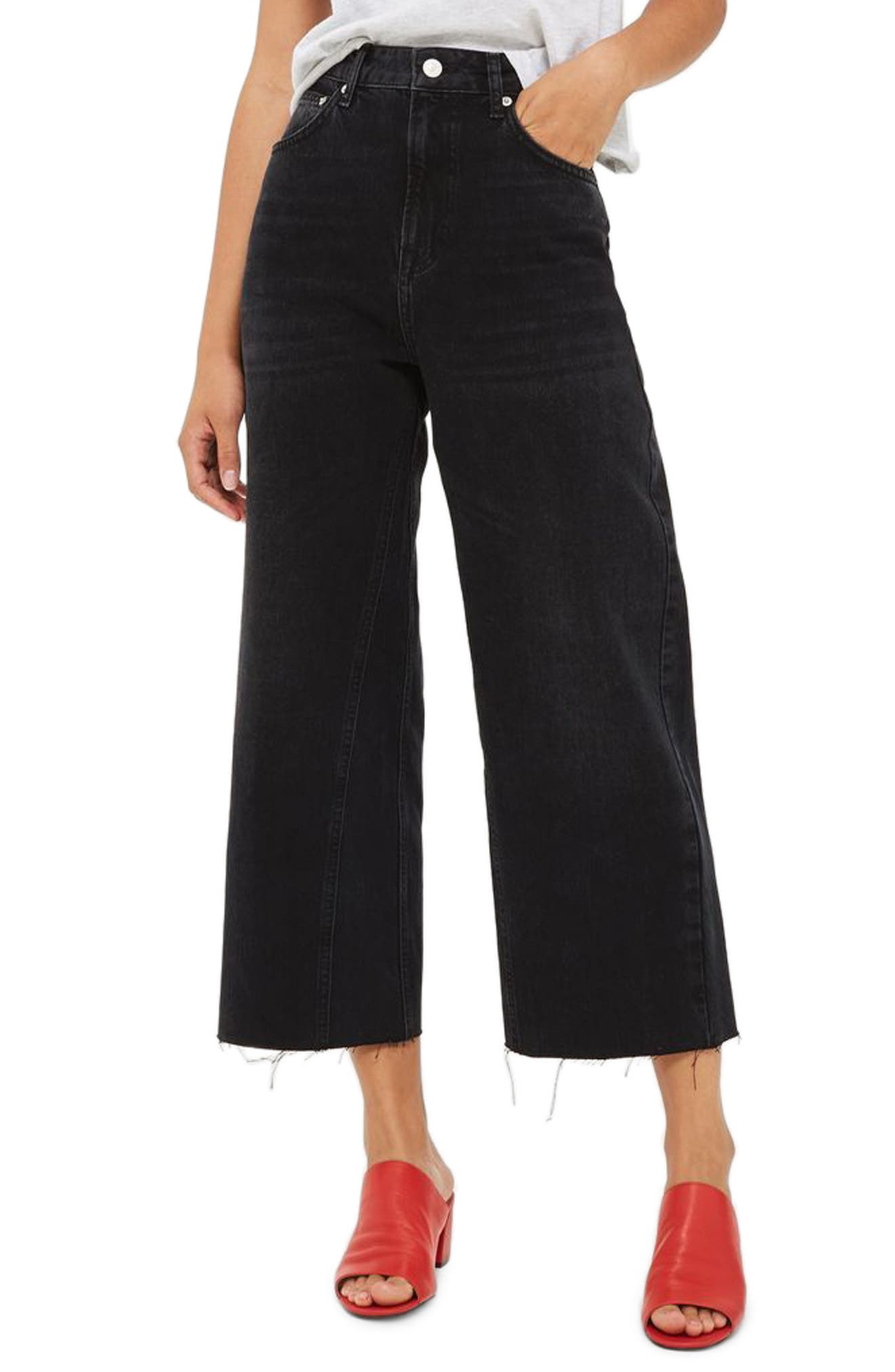 Topshop Crop Wide Leg Jeans (Washed Black)