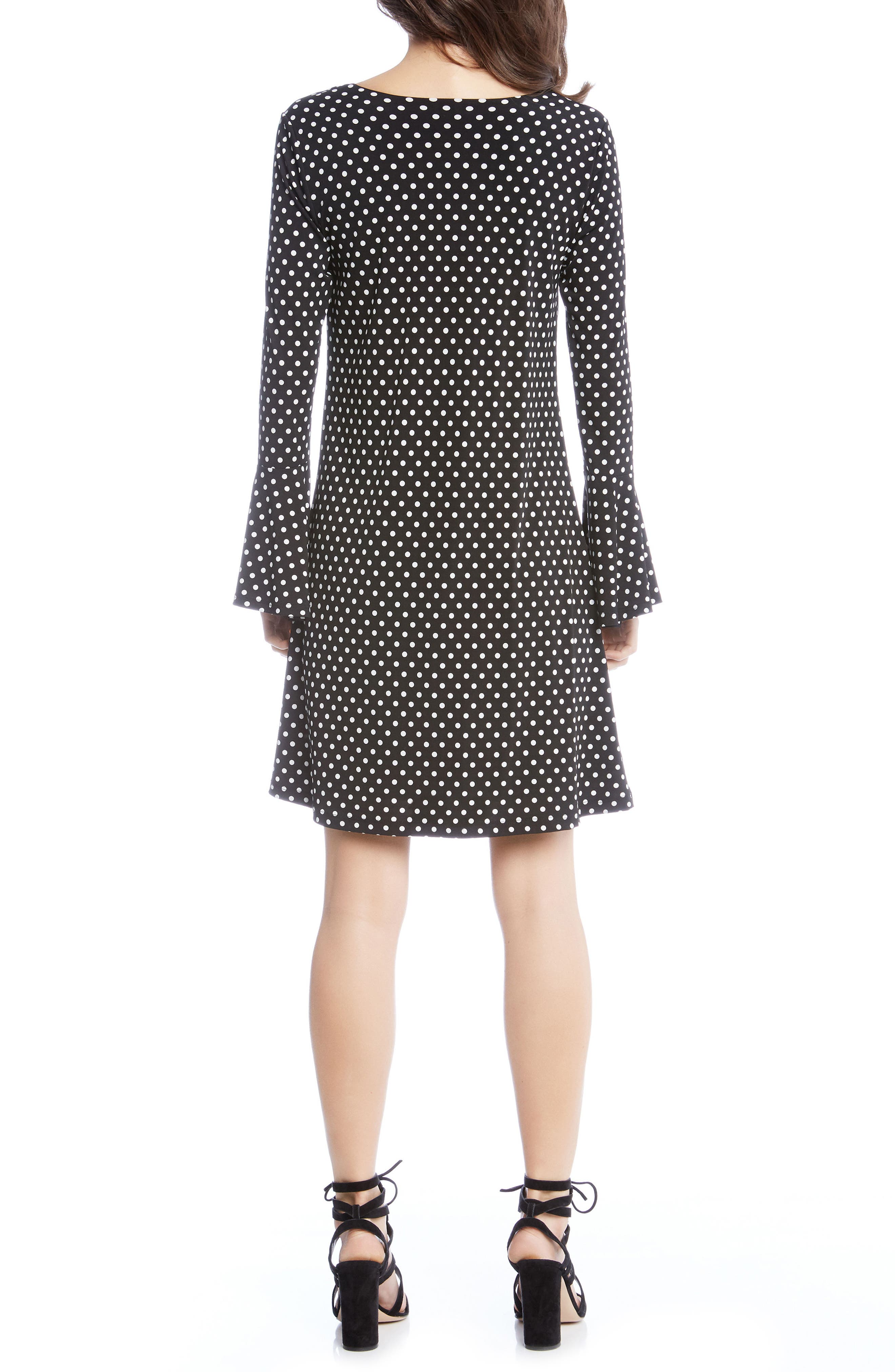 Polka Dot A-Line Dress,                             Alternate thumbnail 3, color,                             Dotted