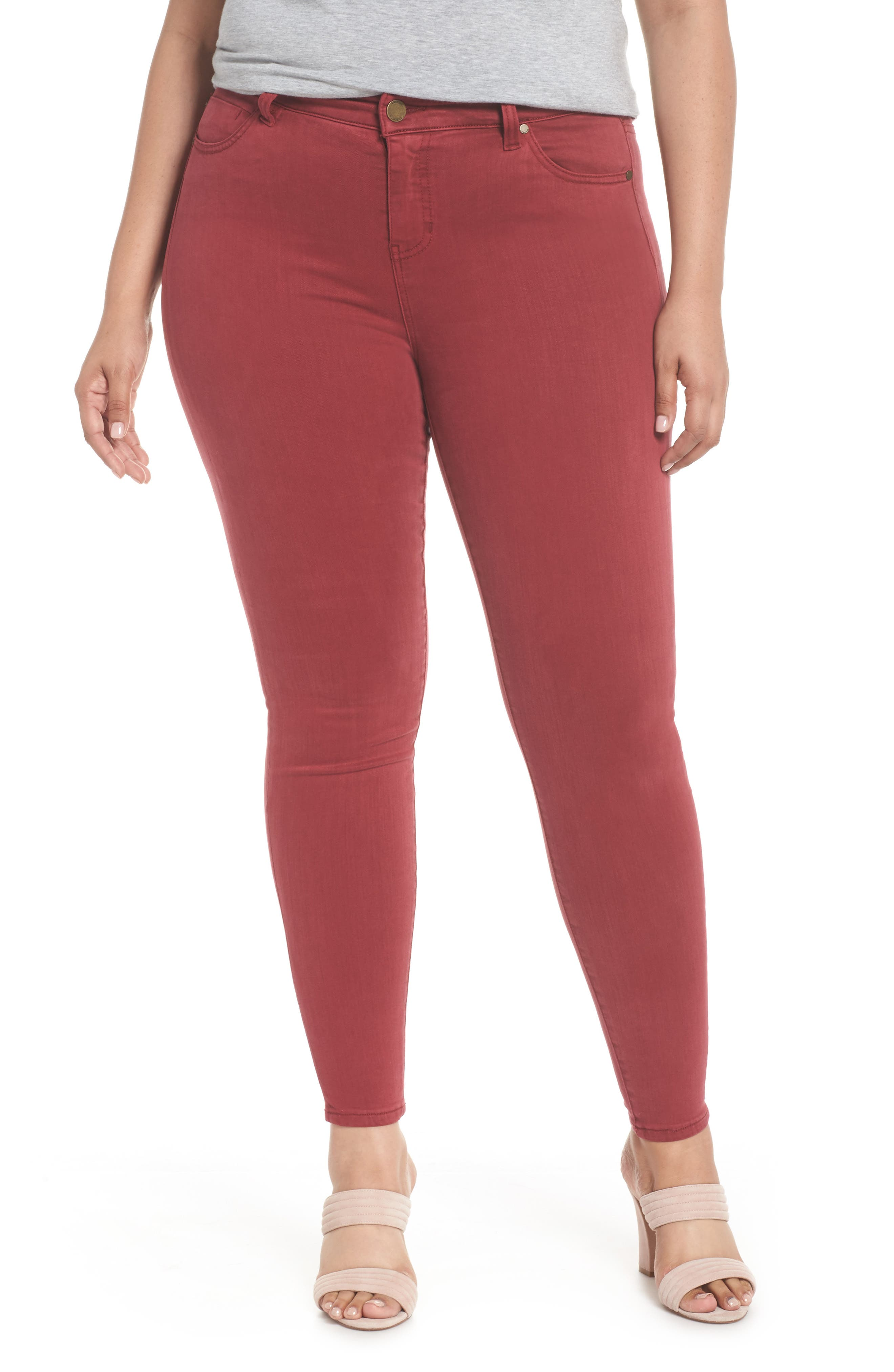 Abby Skinny Jeans,                         Main,                         color, Biking Red