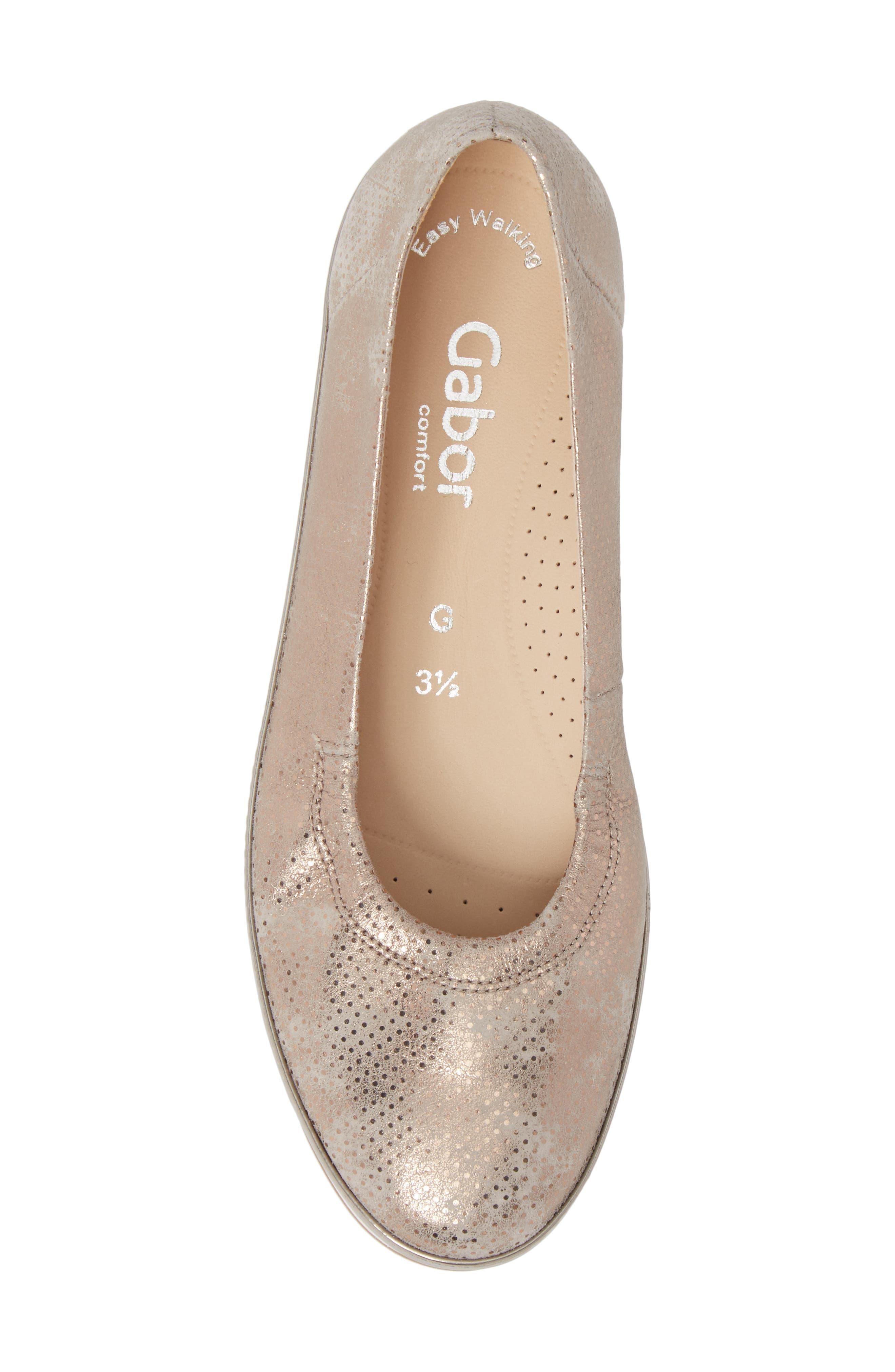 Ballet Wedge,                             Alternate thumbnail 5, color,                             Beige Metallic Leather