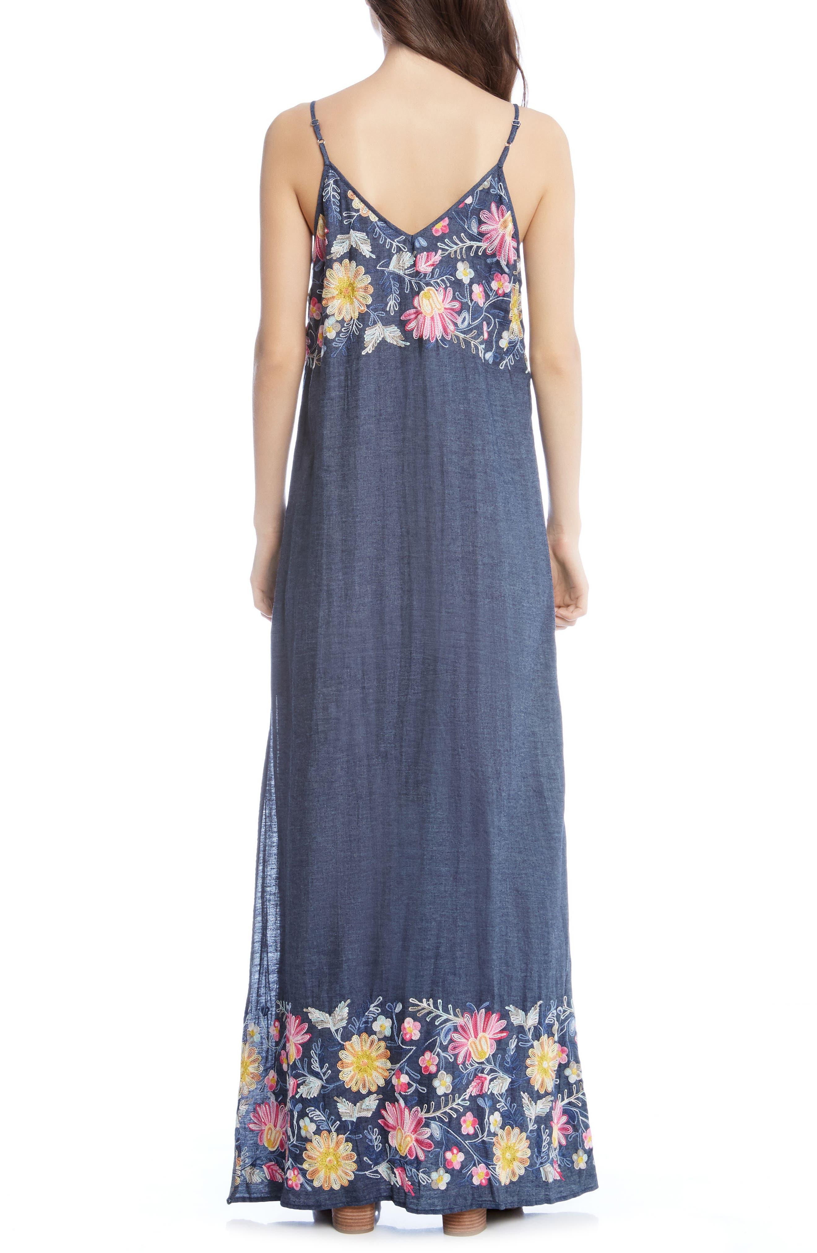 Embroidered Maxi Dress,                             Alternate thumbnail 3, color,                             Denim