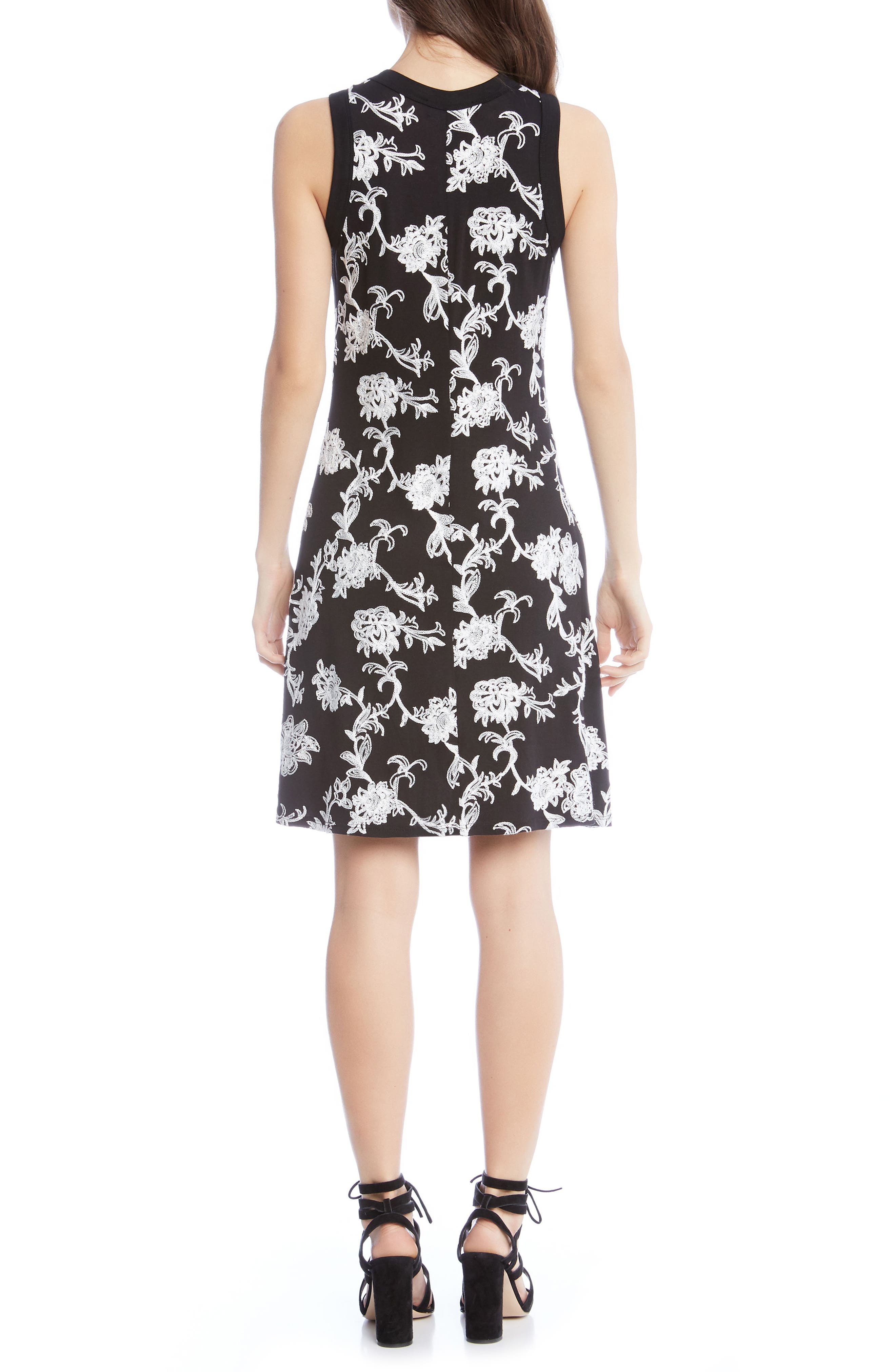 Embroidered Knit Dress,                             Alternate thumbnail 2, color,                             Black