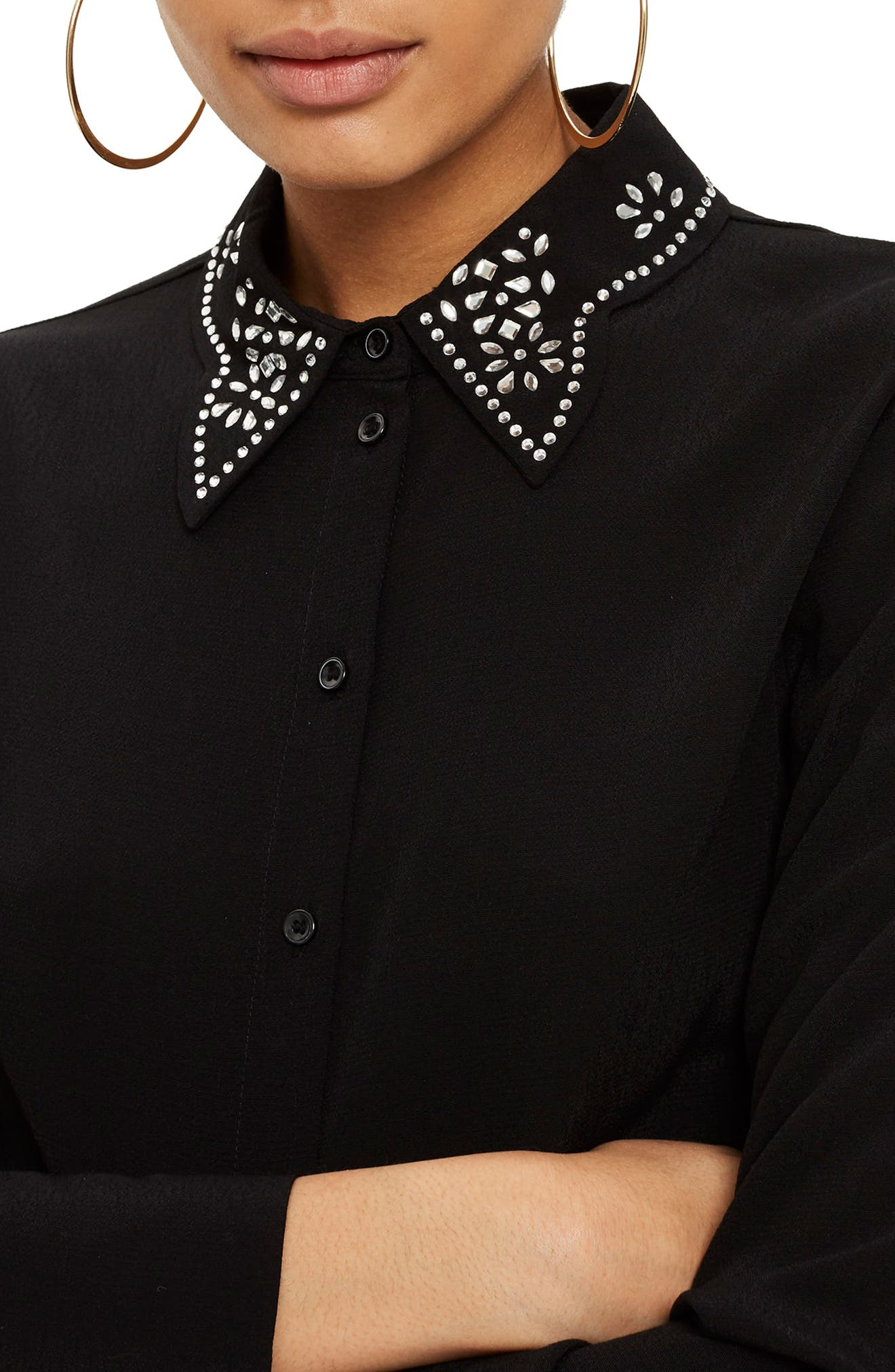 Gem Collar Blouse,                             Alternate thumbnail 3, color,                             Black