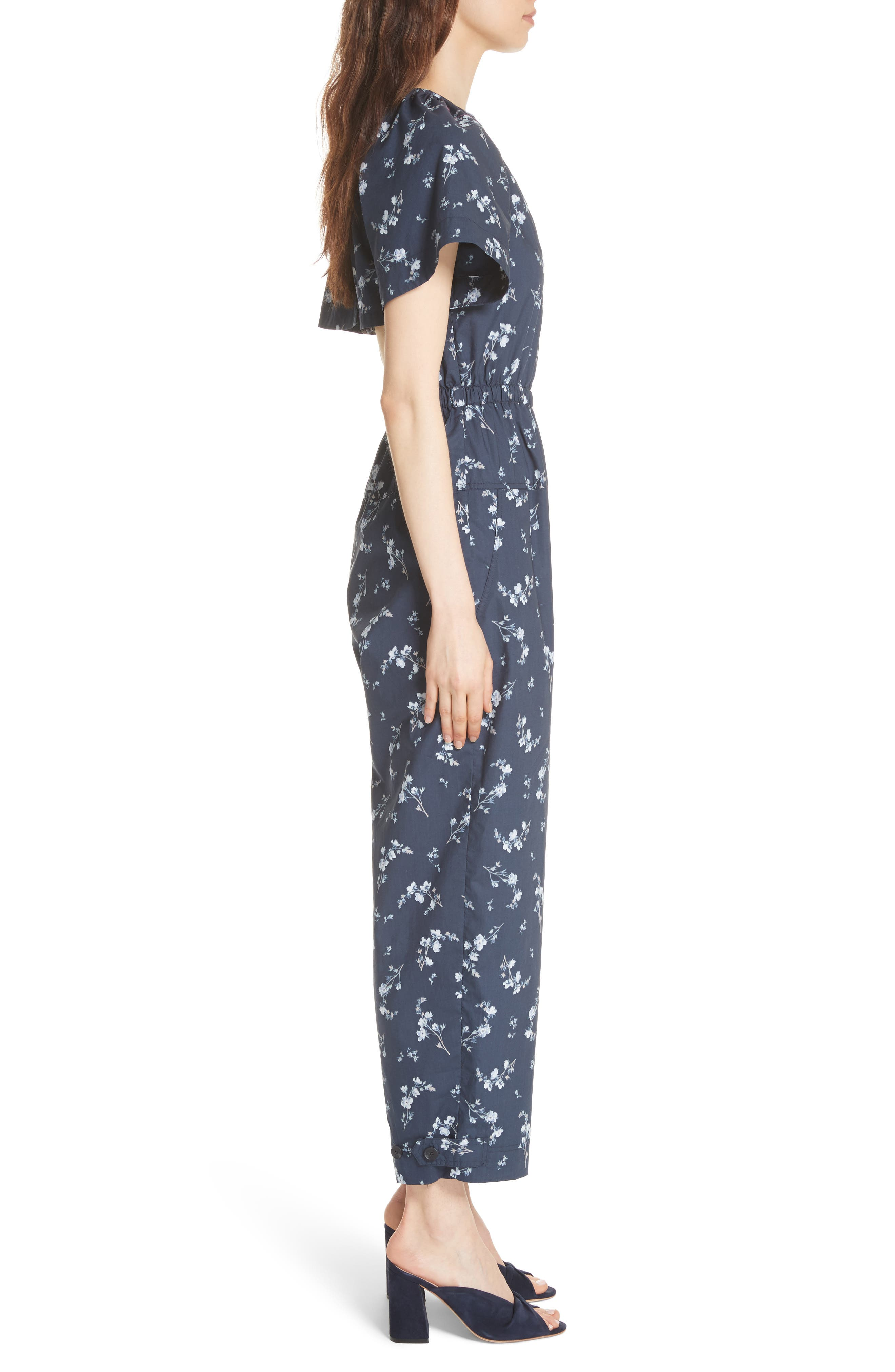 Francine Floral Print Jumpsuit,                             Alternate thumbnail 3, color,                             Navy Combo