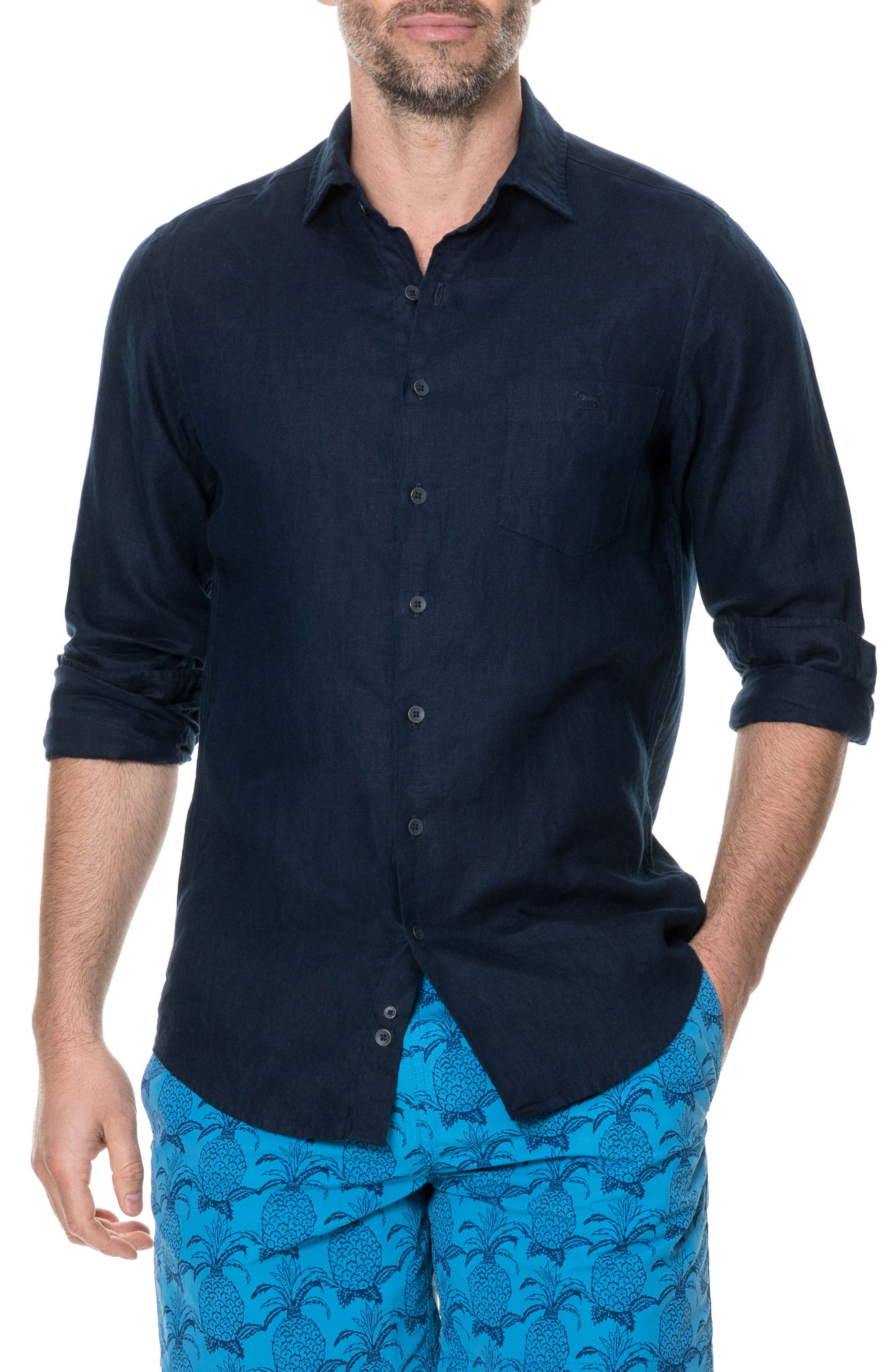 Denver Regular Fit Linen Sport Shirt,                         Main,                         color, Indigo