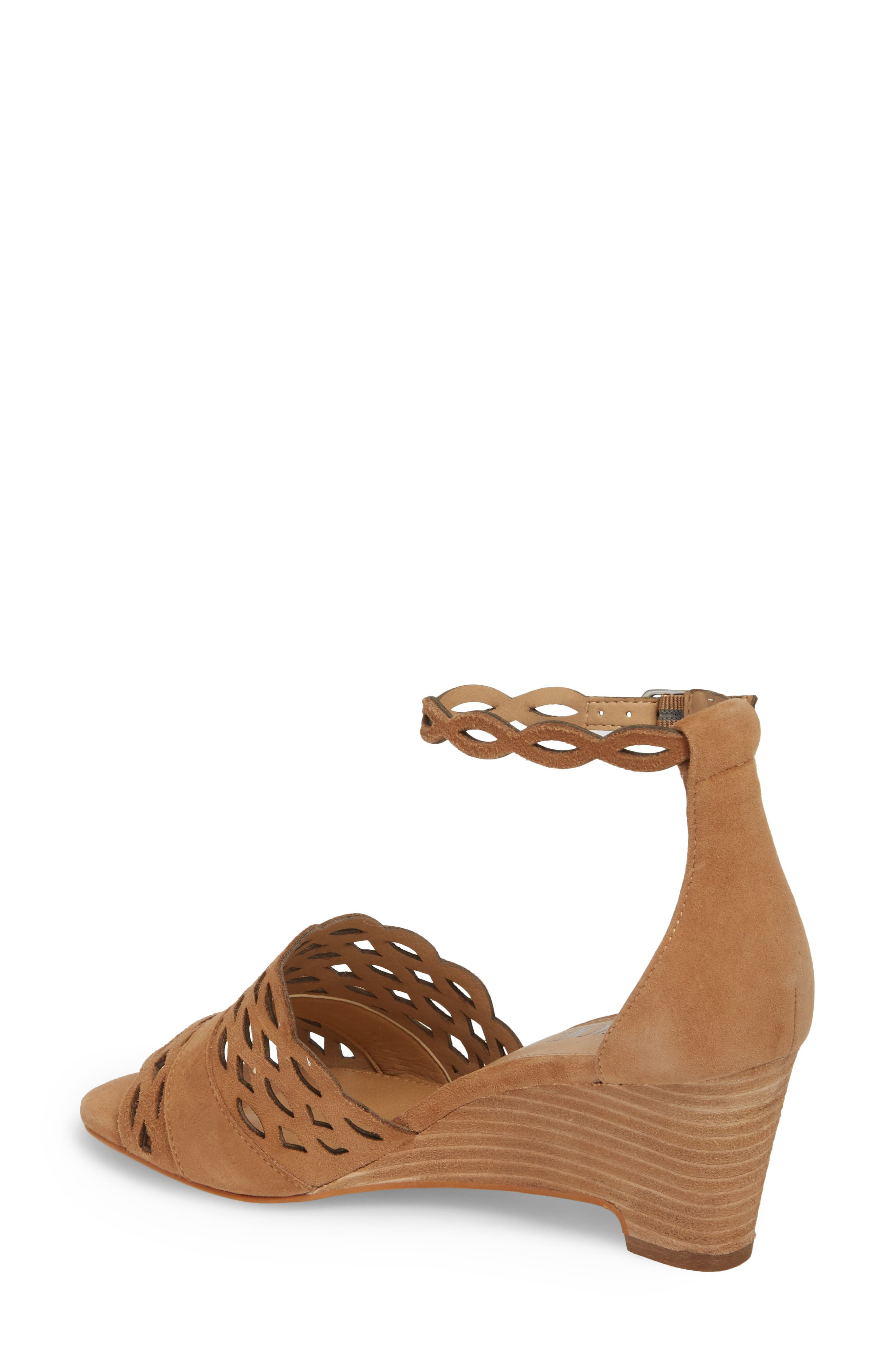 Flora Wedge Sandal,                             Alternate thumbnail 2, color,                             Fawn Leather