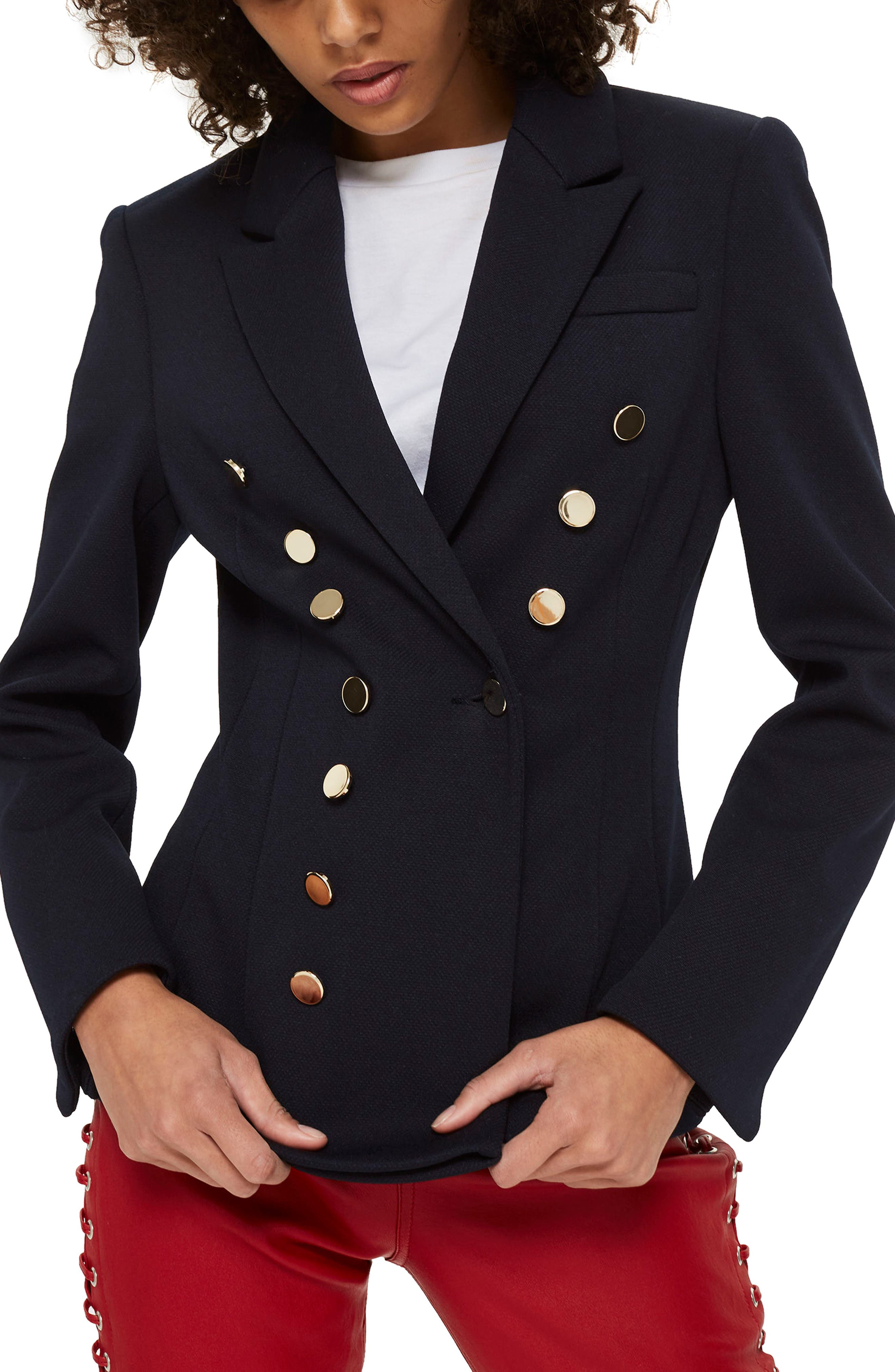 Golden Button Double Breasted Jacket,                             Main thumbnail 1, color,                             Navy Blue