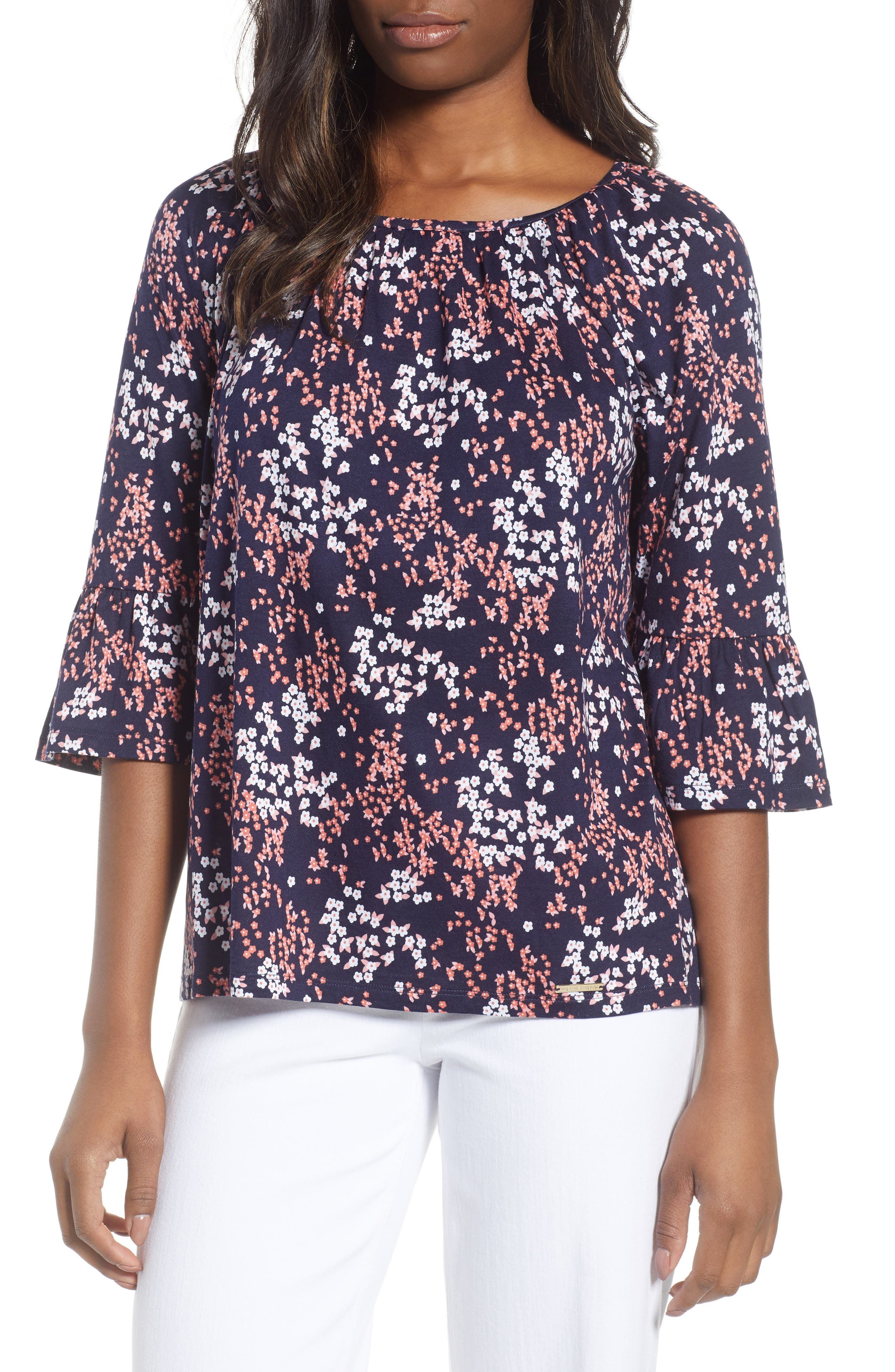 Scattered Blooms Print Peasant Top,                             Main thumbnail 1, color,                             True Navy/ Bright Blush