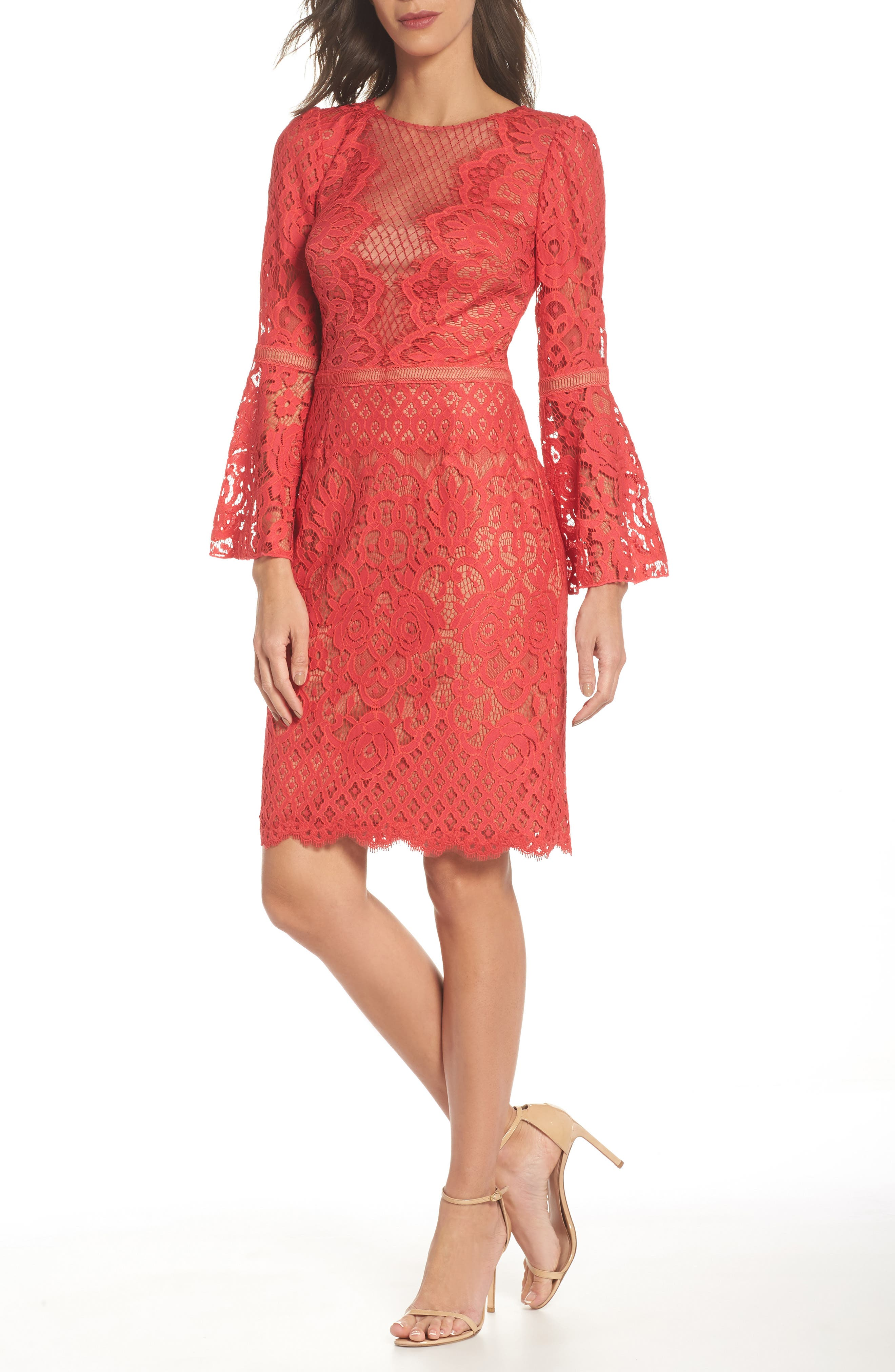 Kyra Bell Sleeve Lace Dress,                             Main thumbnail 1, color,                             Red/ Jasper