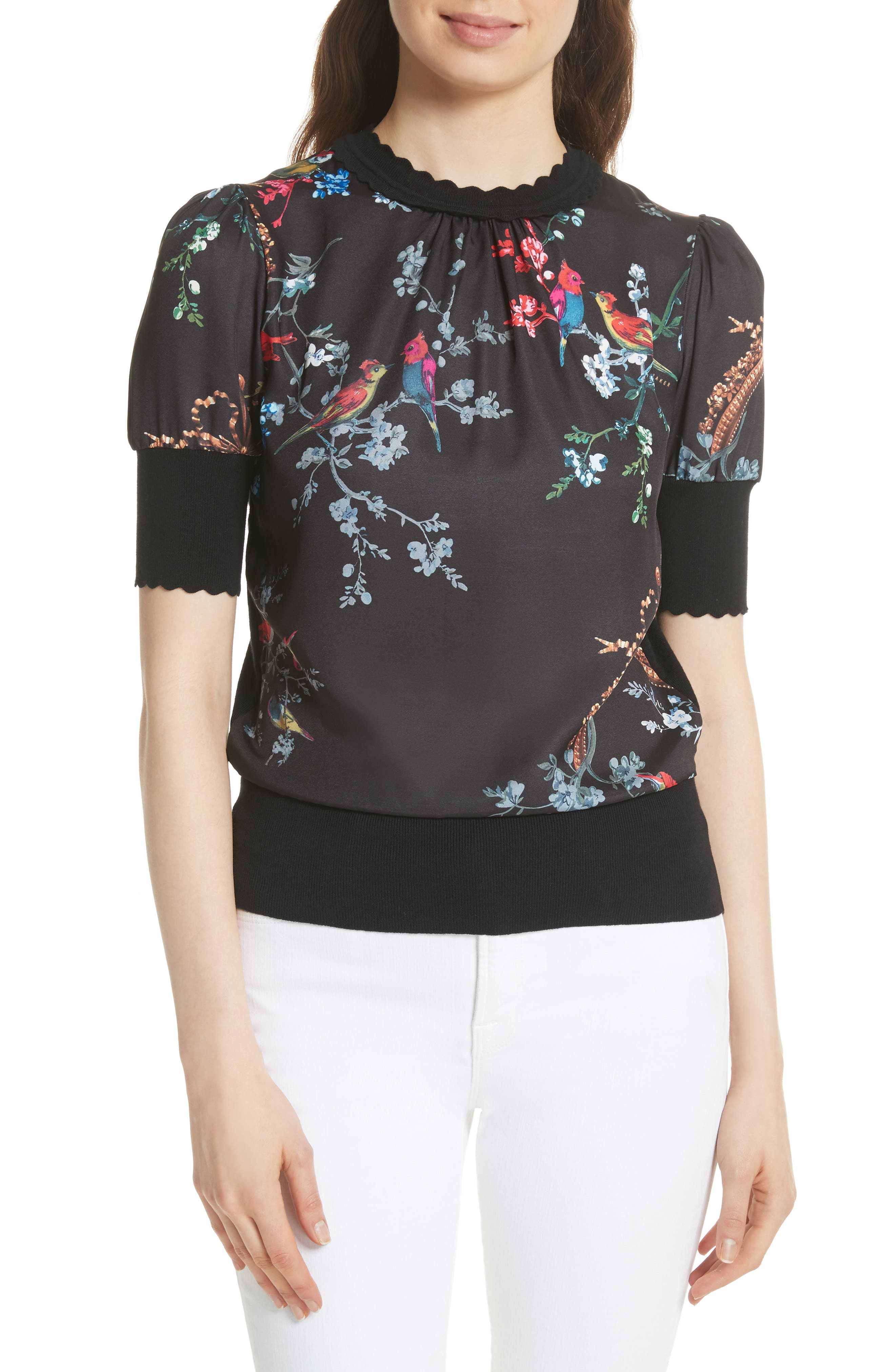 Ted Baker London Opulent Fauna Woven Front Top