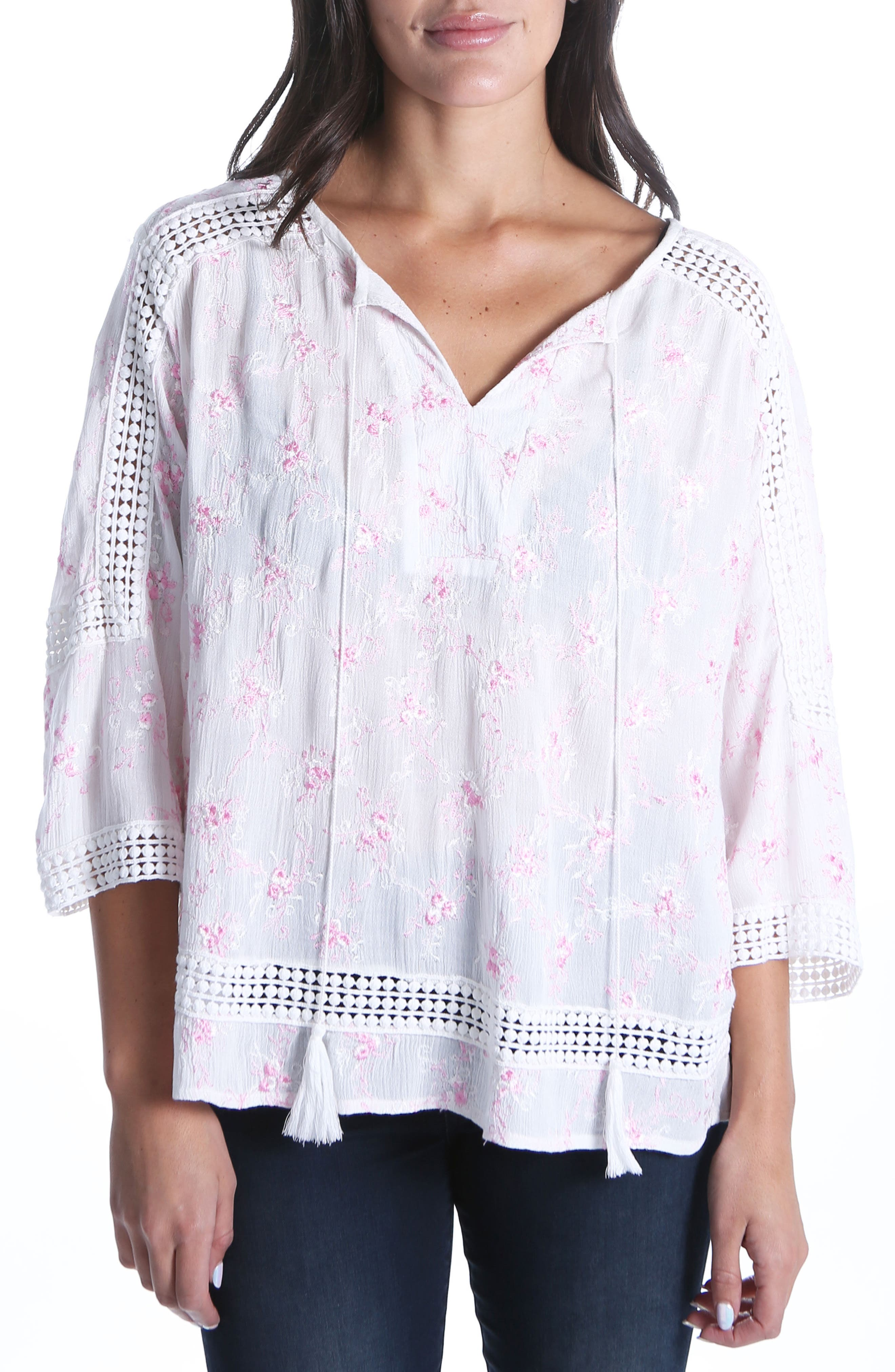 Embroidered Blouse,                         Main,                         color, White/ Pink