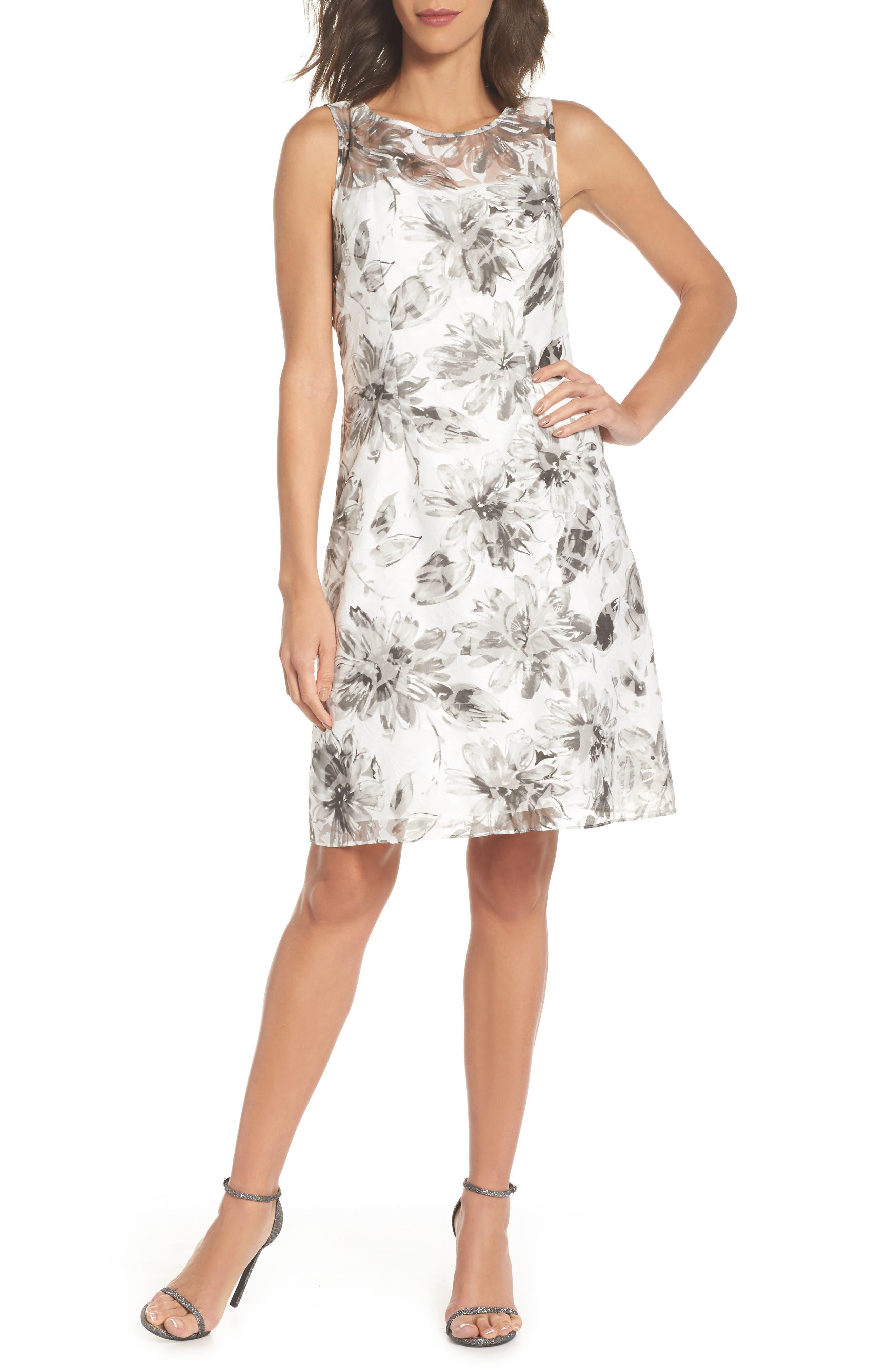 Burnout A-Line Dress,                             Main thumbnail 1, color,                             Black Multi