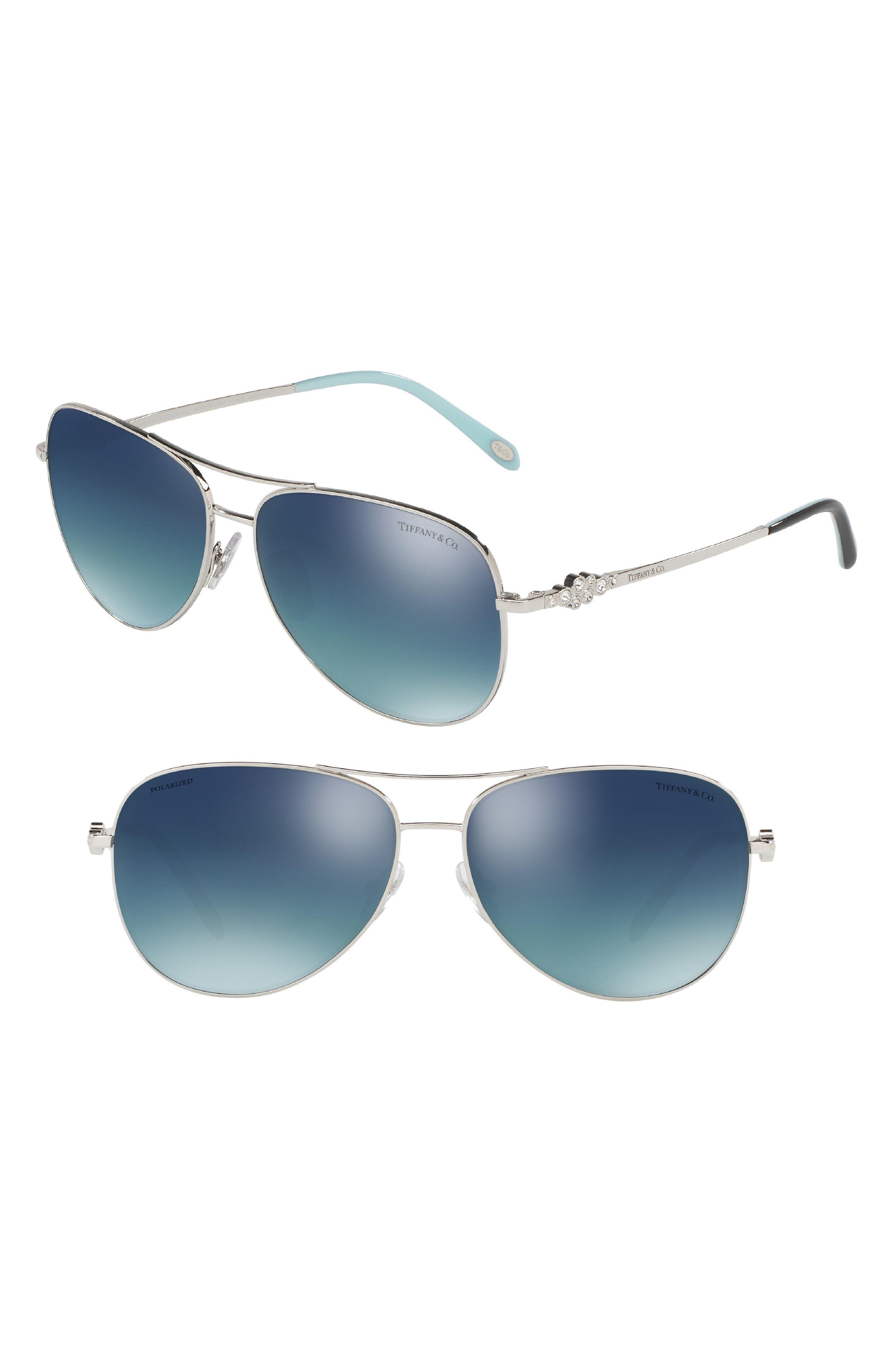 Tiffany 59mm Polarized Metal Aviator Sunglasses,                         Main,                         color, Silver Gradient Mirror