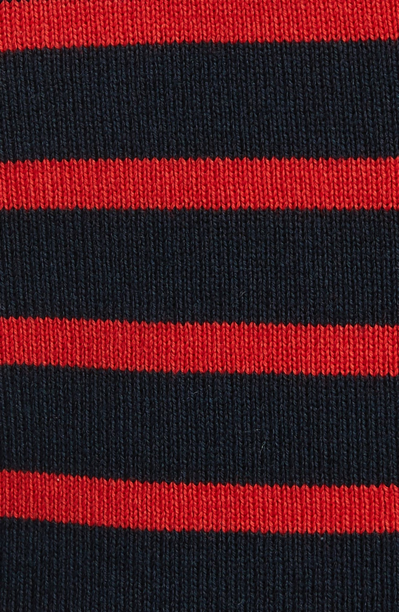 Stripe Wool Blend Hoodie,                             Alternate thumbnail 5, color,                             Navy/ Red