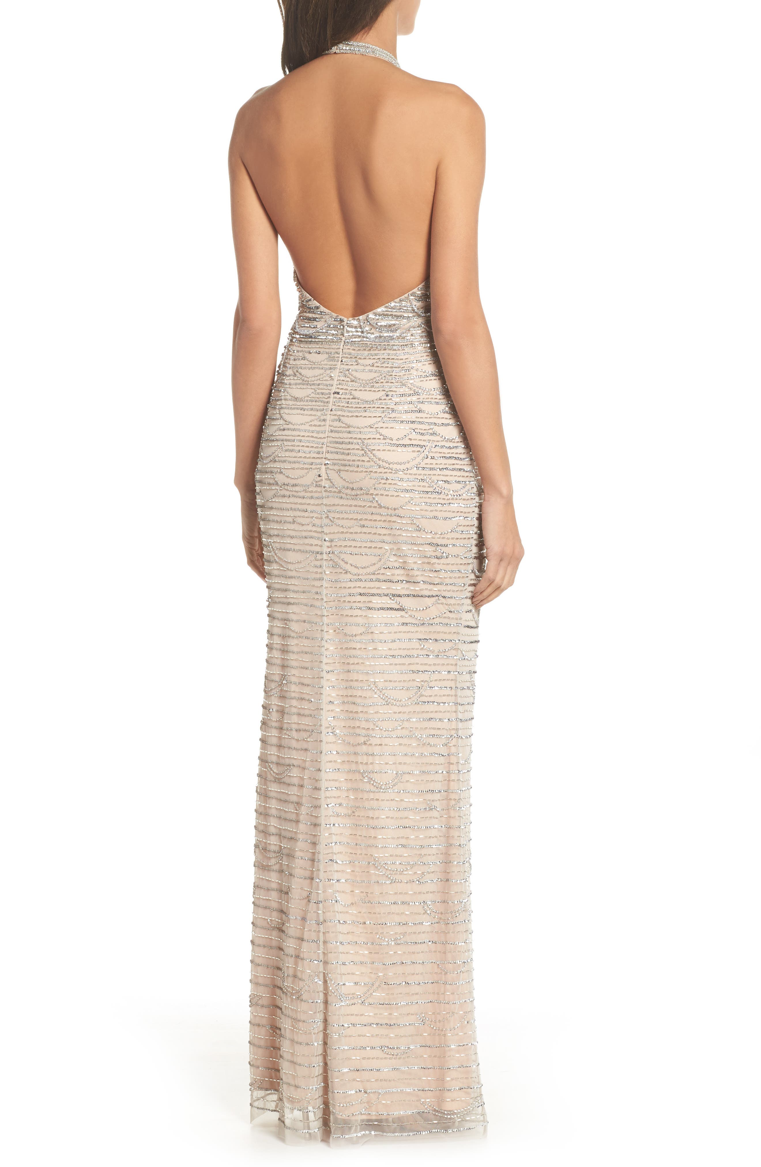 Beaded Halter Gown,                             Alternate thumbnail 2, color,                             Silver/ Nude