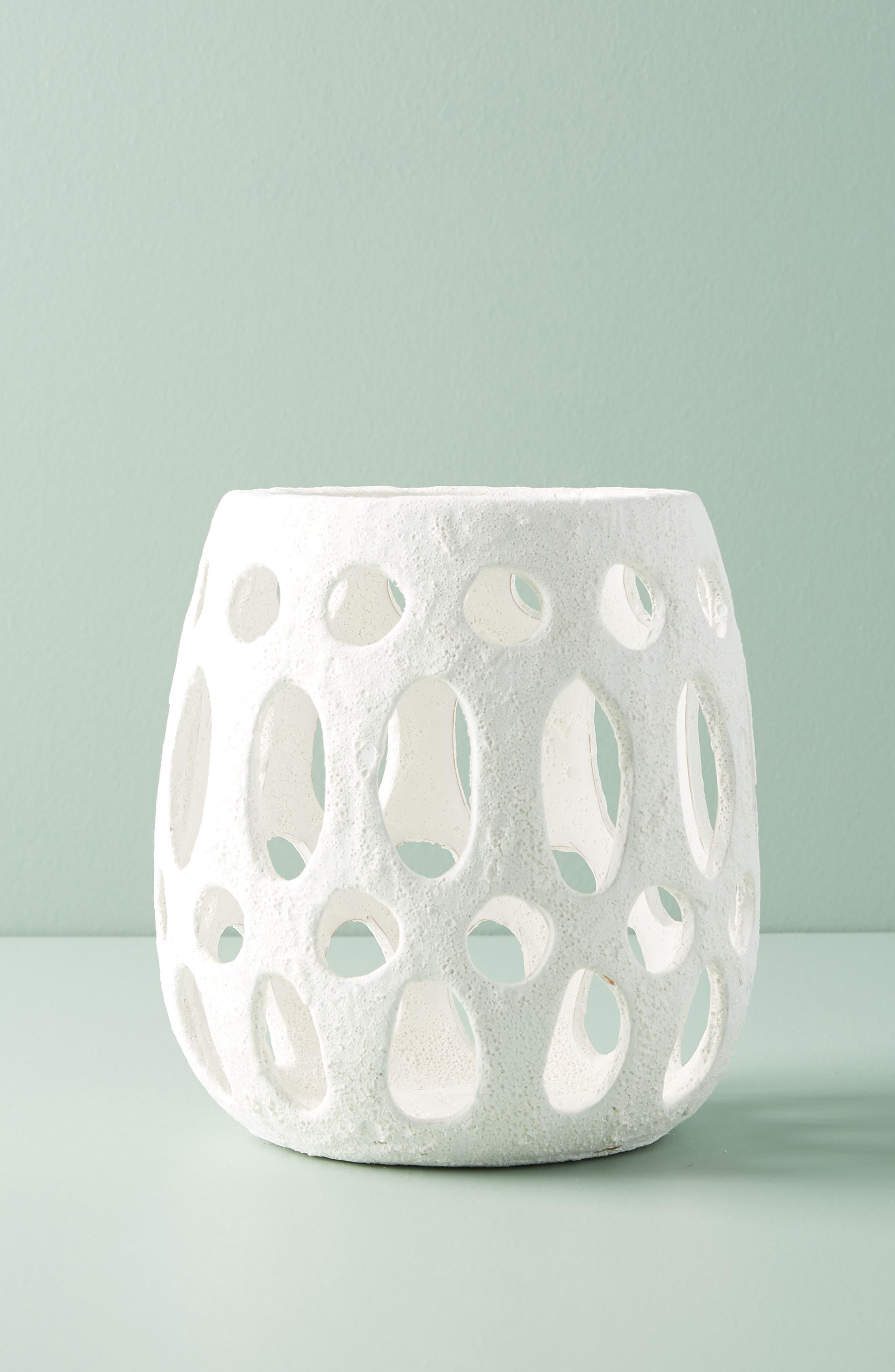 Hand Carved Ceramic Hurricane Candleholder,                             Main thumbnail 1, color,                             White - Medium