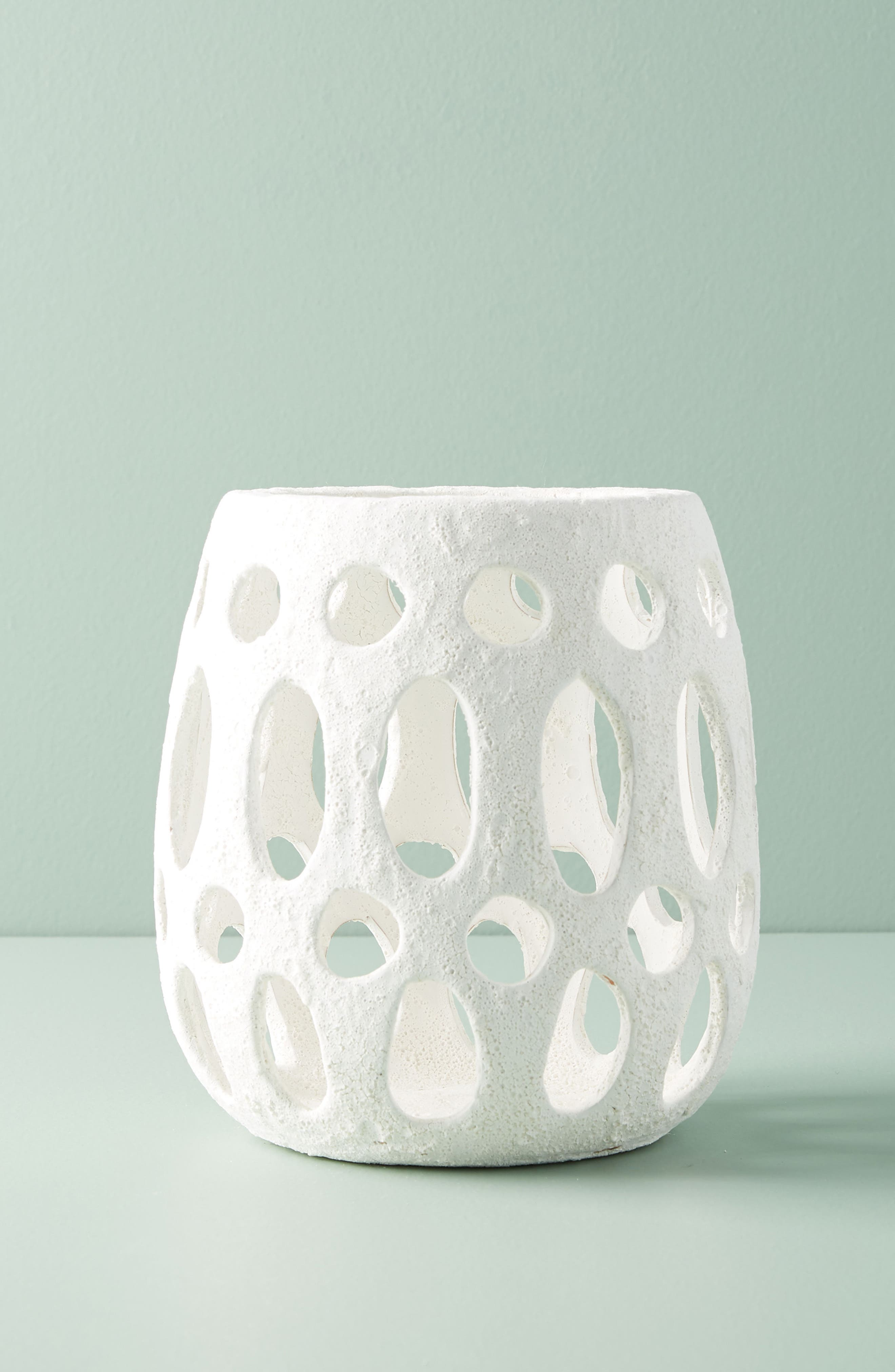 Hand Carved Ceramic Hurricane Candleholder,                         Main,                         color, White - Medium