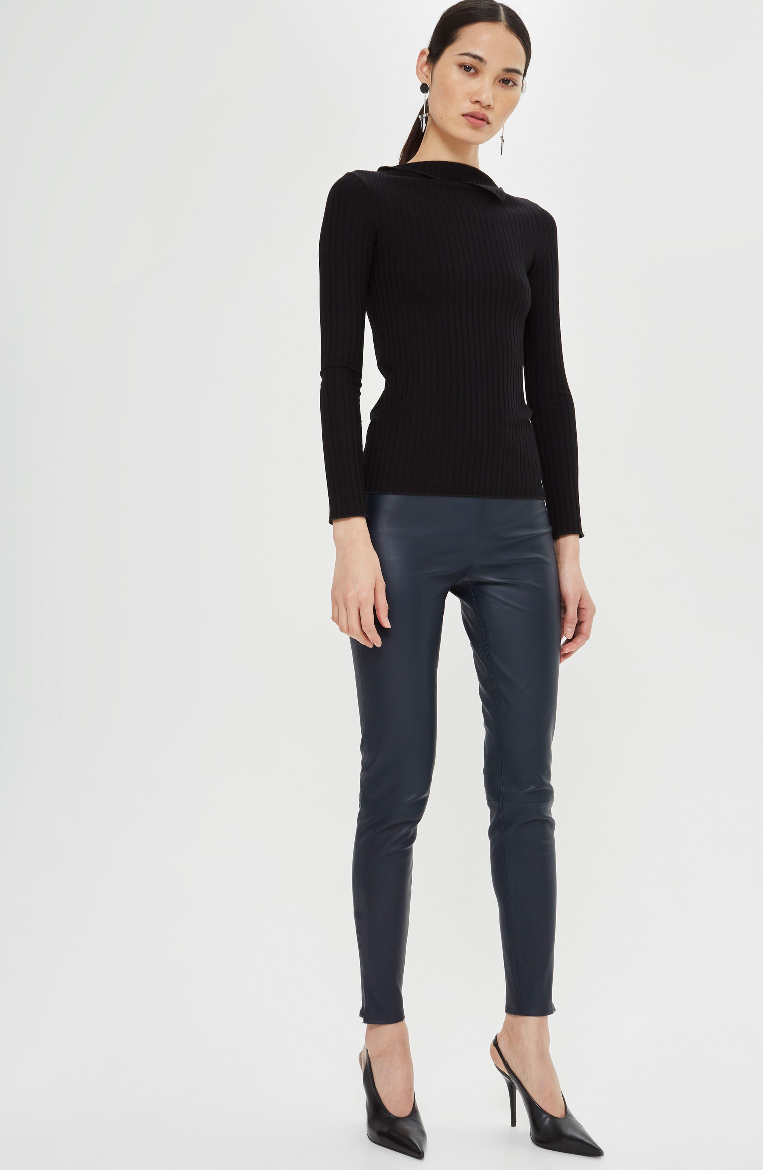 Fold Neck Rib Shirt,                             Alternate thumbnail 2, color,                             Black