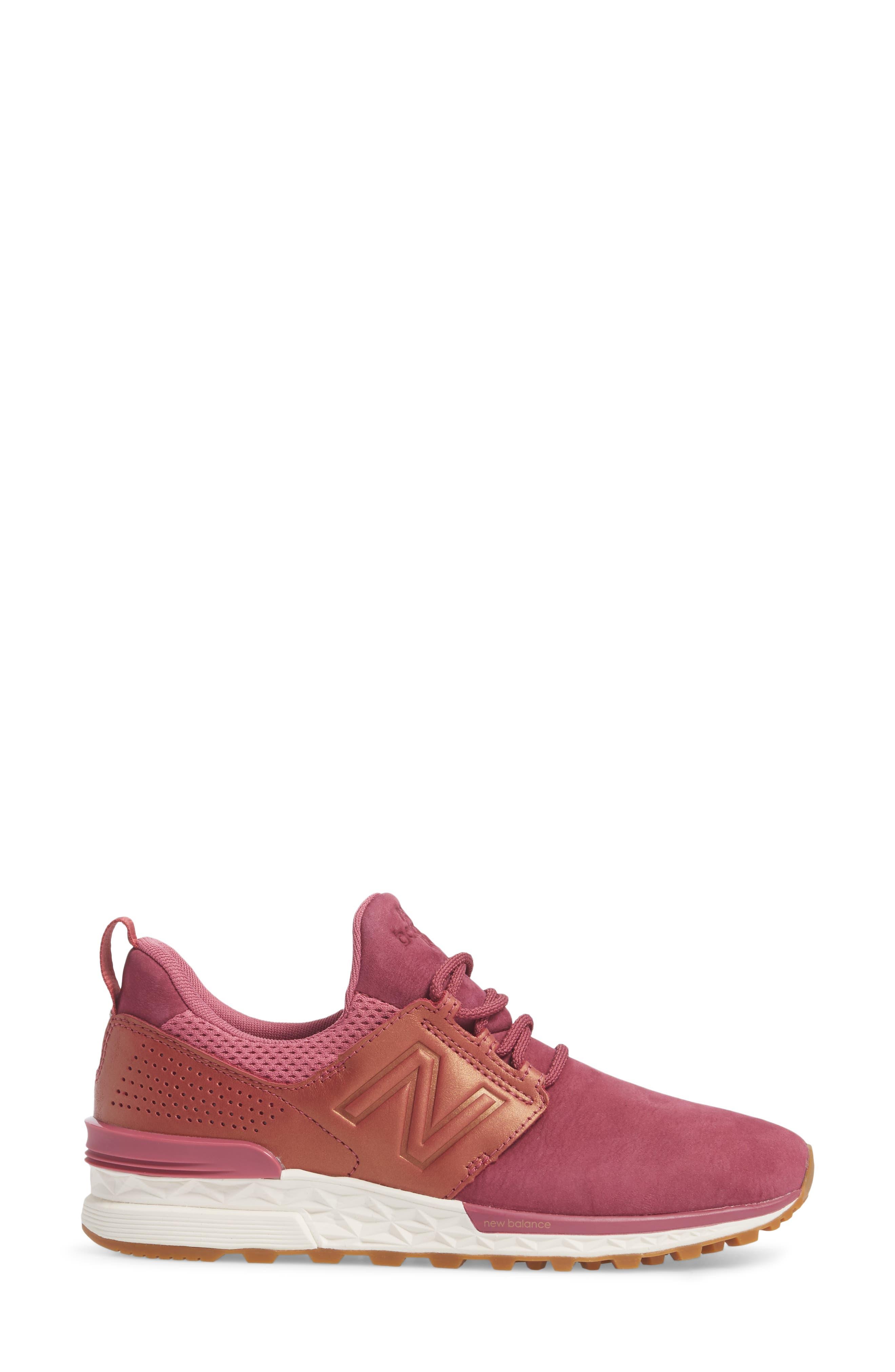 Nubuck 574 Sport Sneaker,                             Alternate thumbnail 3, color,                             Dragon Fruit