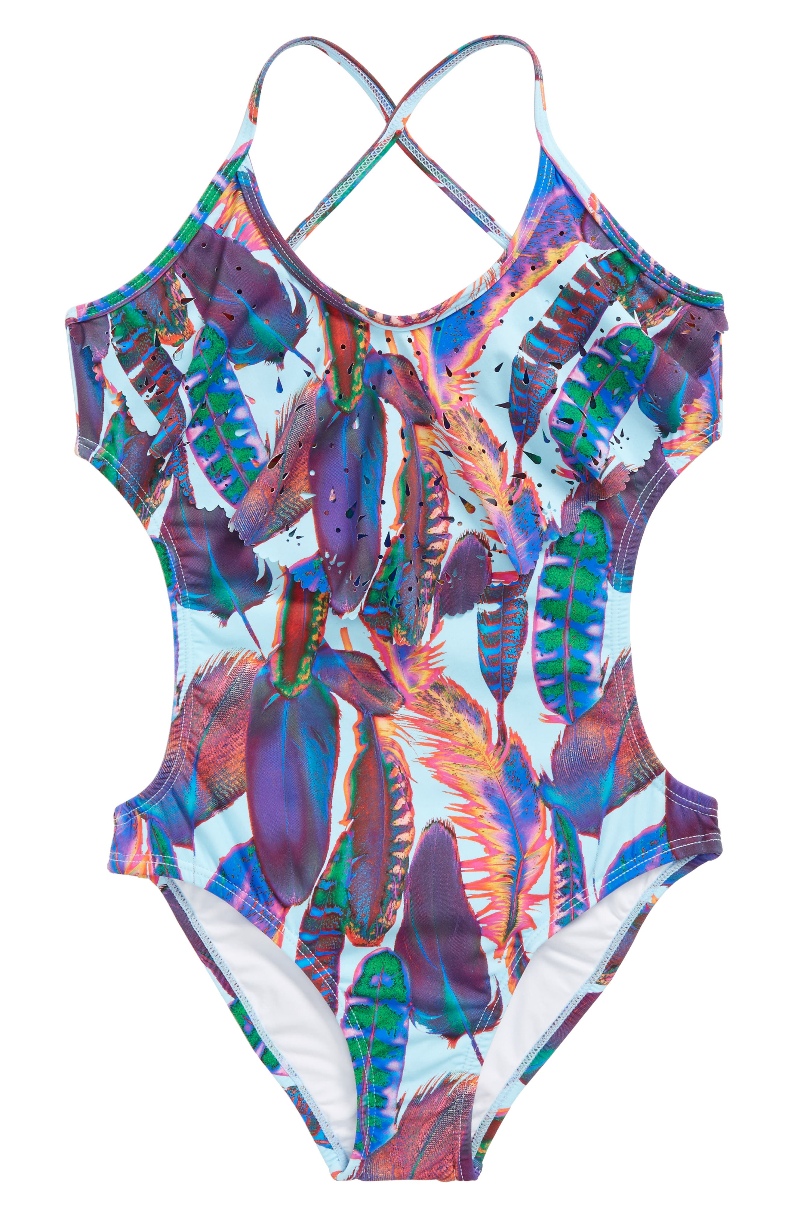 Alternate Image 1 Selected - PilyQ Laser Cut One-Piece Swimsuit (Big Girls)