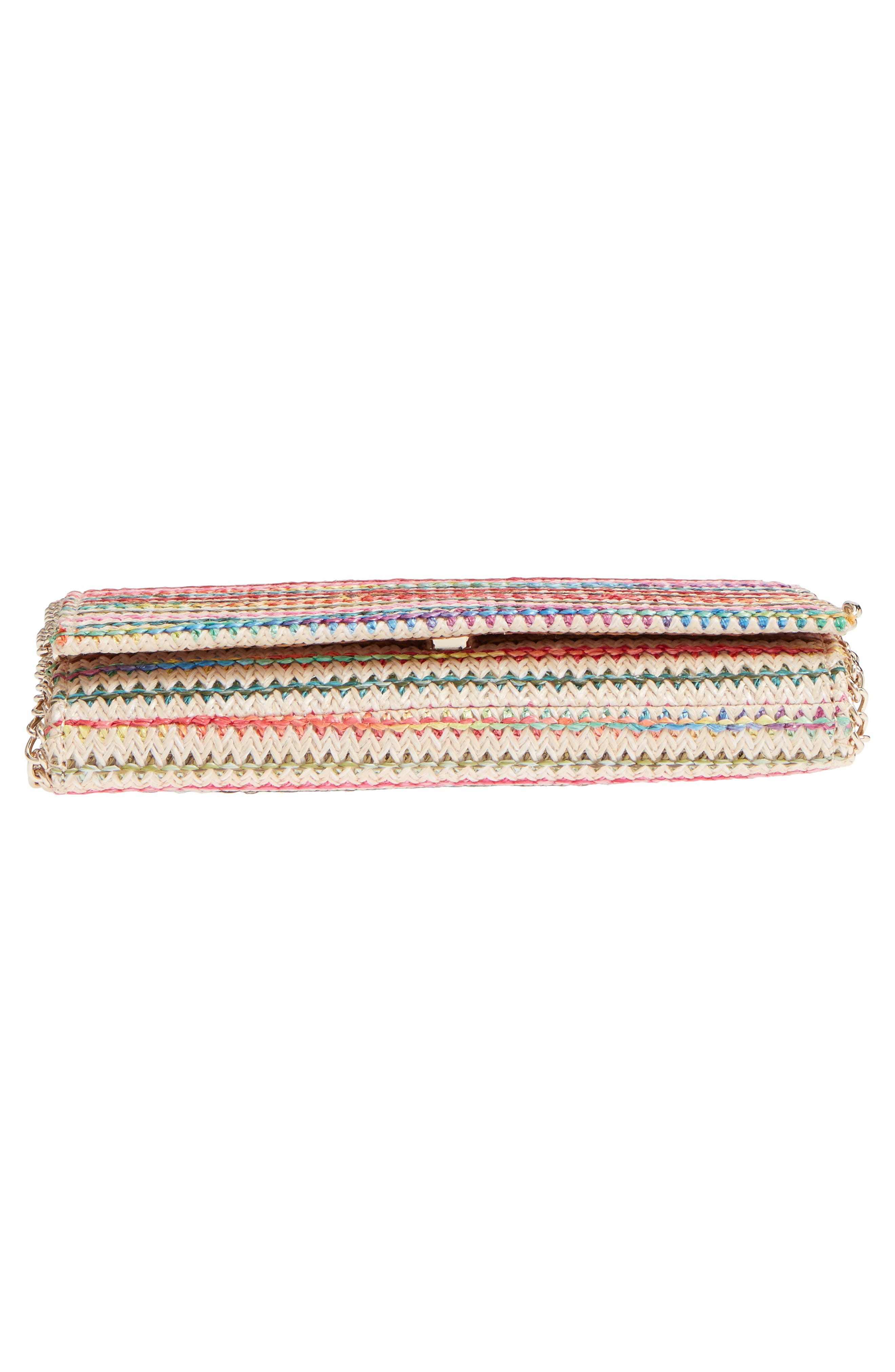 Multistripe Woven Clutch,                             Alternate thumbnail 6, color,                             Natural Multicolor Stripe