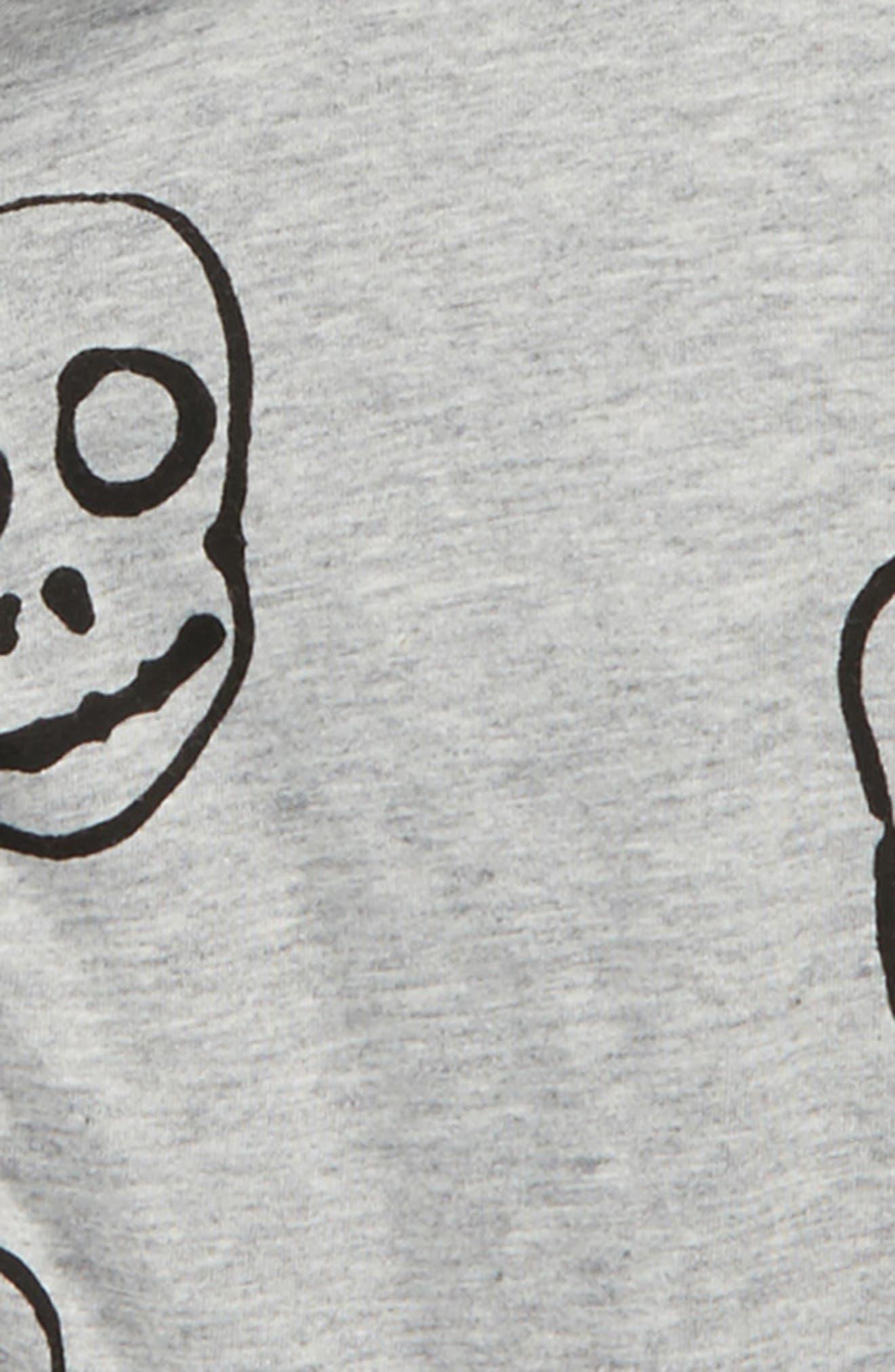 Skull Mask Zip Front Hoodie,                             Alternate thumbnail 2, color,                             Heather Grey