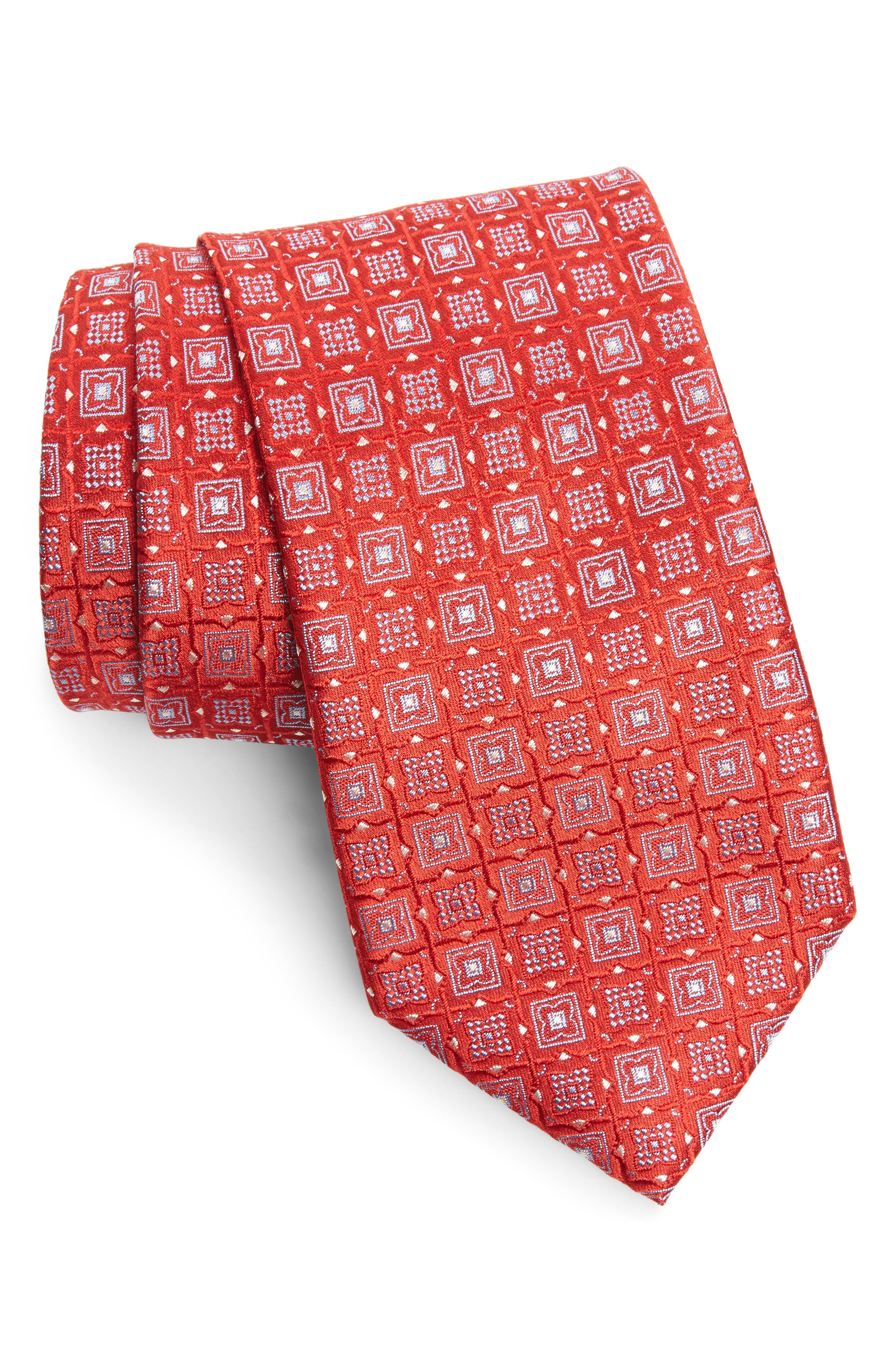 Geometric Silk Tie,                             Main thumbnail 1, color,                             Red/ Blue