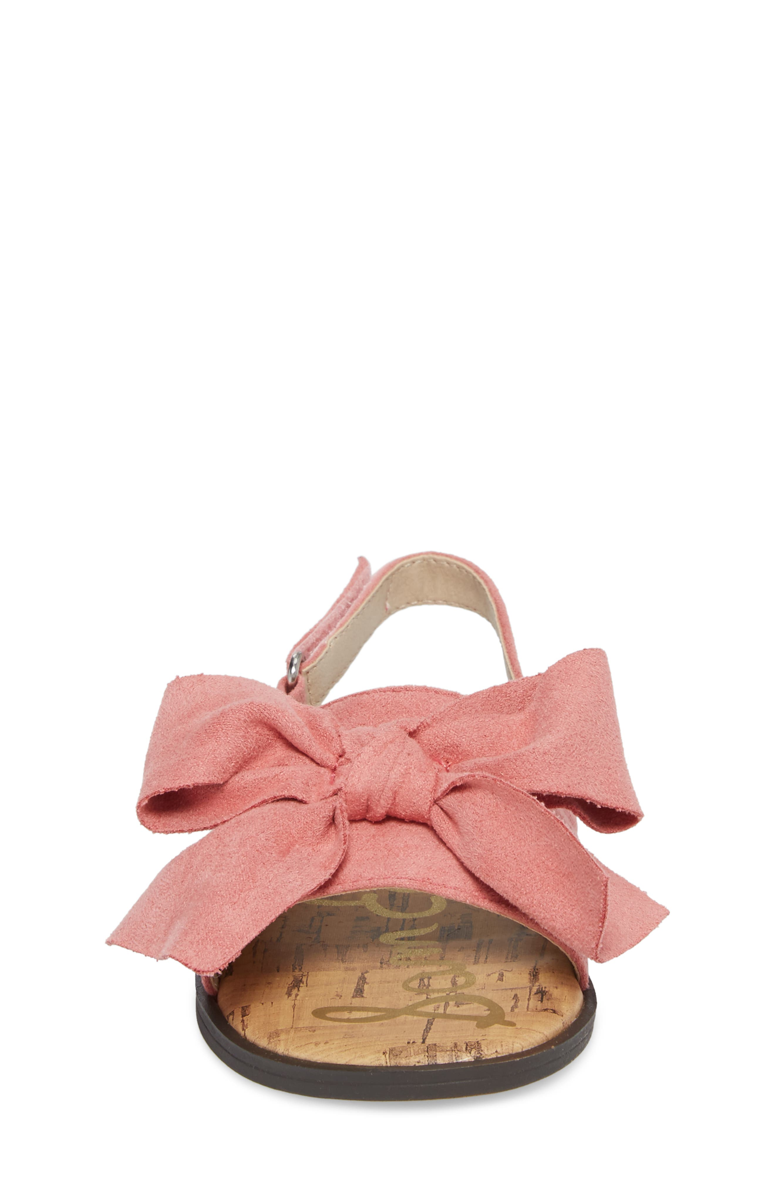Gigi Bow Sandal,                             Alternate thumbnail 4, color,                             Pink Faux Suede