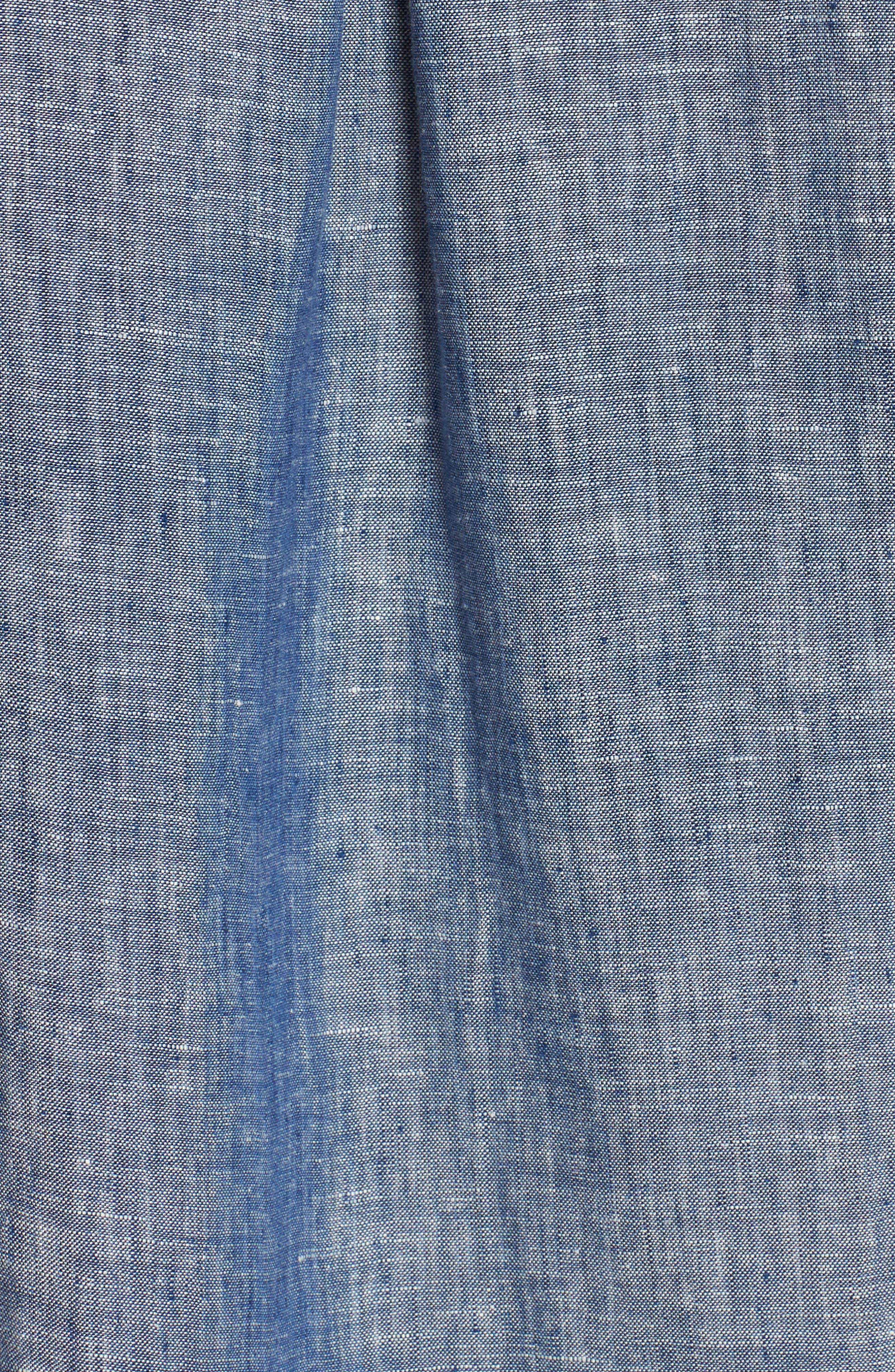 Bennett Linen Sport Shirt,                             Alternate thumbnail 5, color,                             Chambray Blue