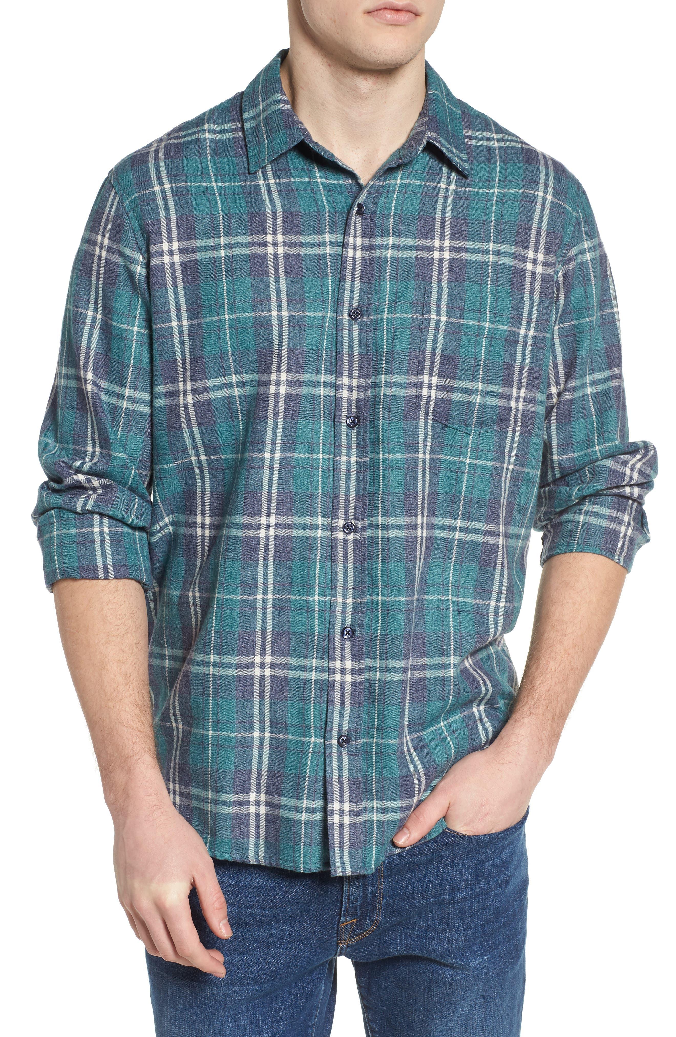 Lennox Slim Fit Plaid Woven Shirt,                         Main,                         color, Veridian Navy White