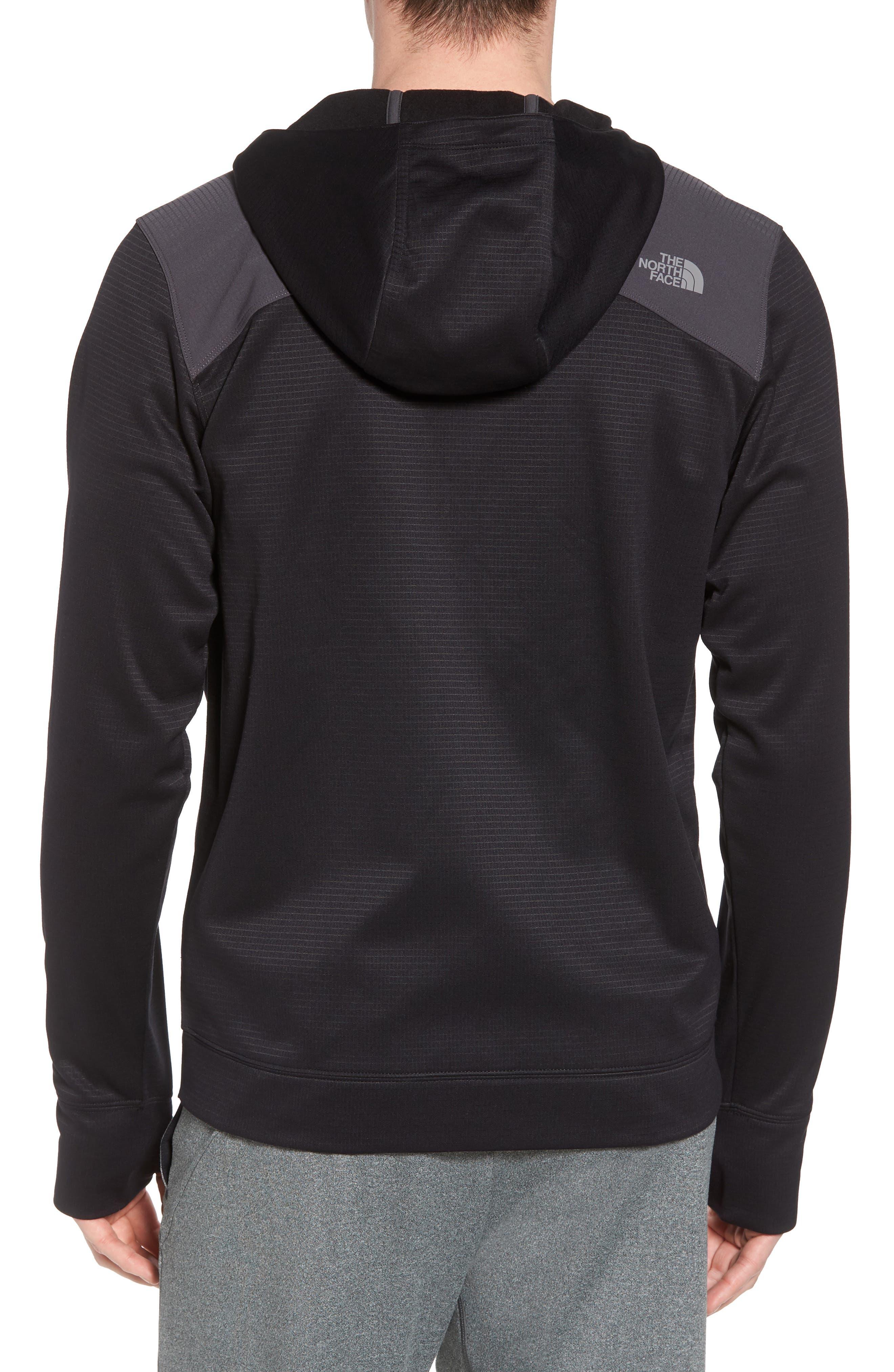 Ampere Zip Front Fleece Hoodie,                             Alternate thumbnail 2, color,                             Black
