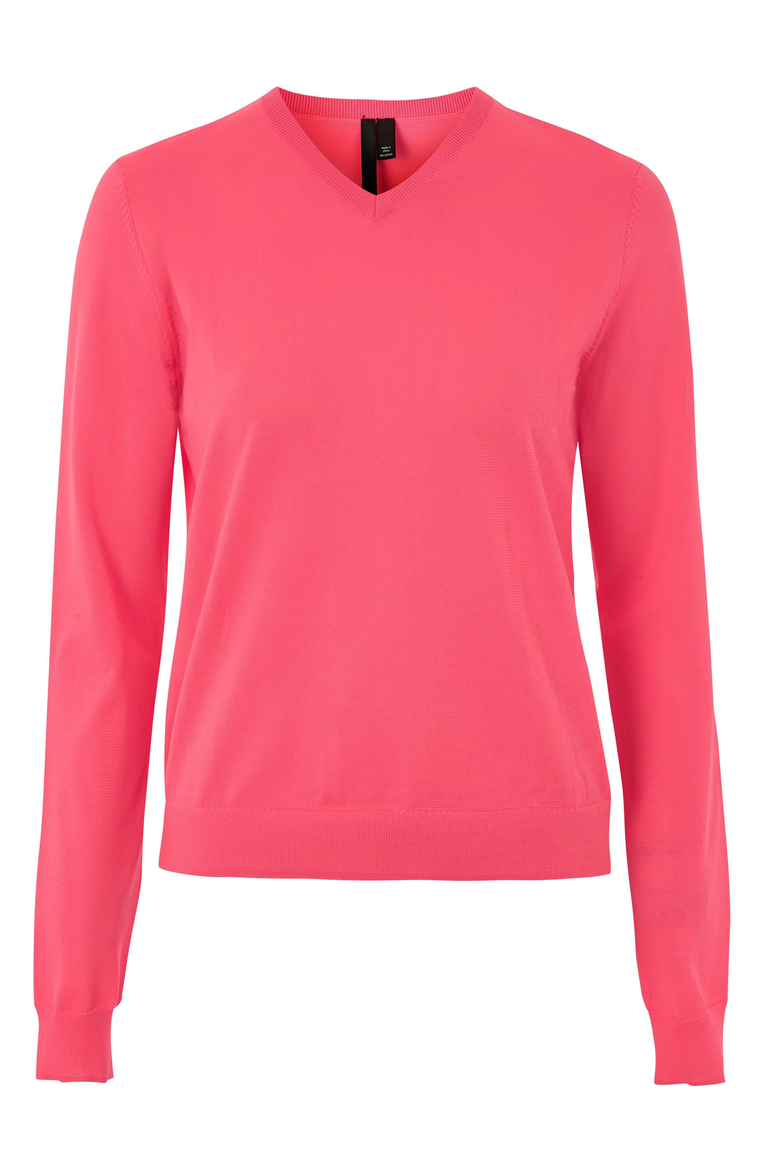 V-Neck Sweater,                             Main thumbnail 1, color,                             Bright Pink