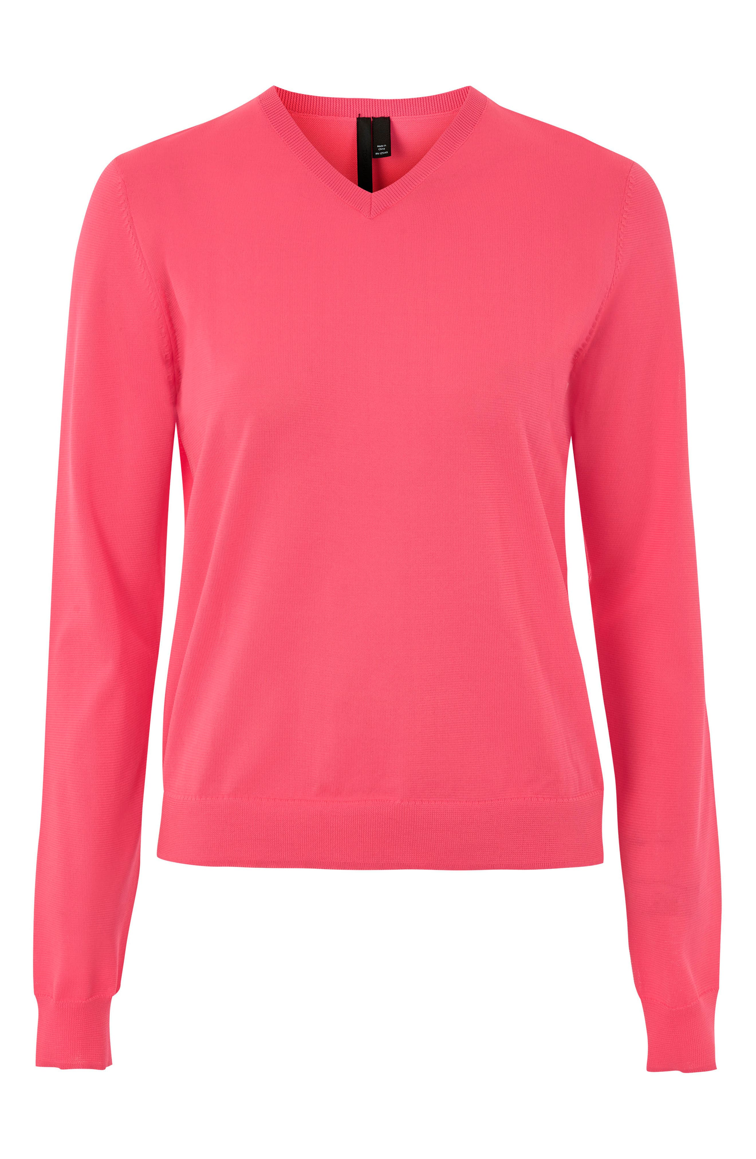 V-Neck Sweater,                         Main,                         color, Bright Pink